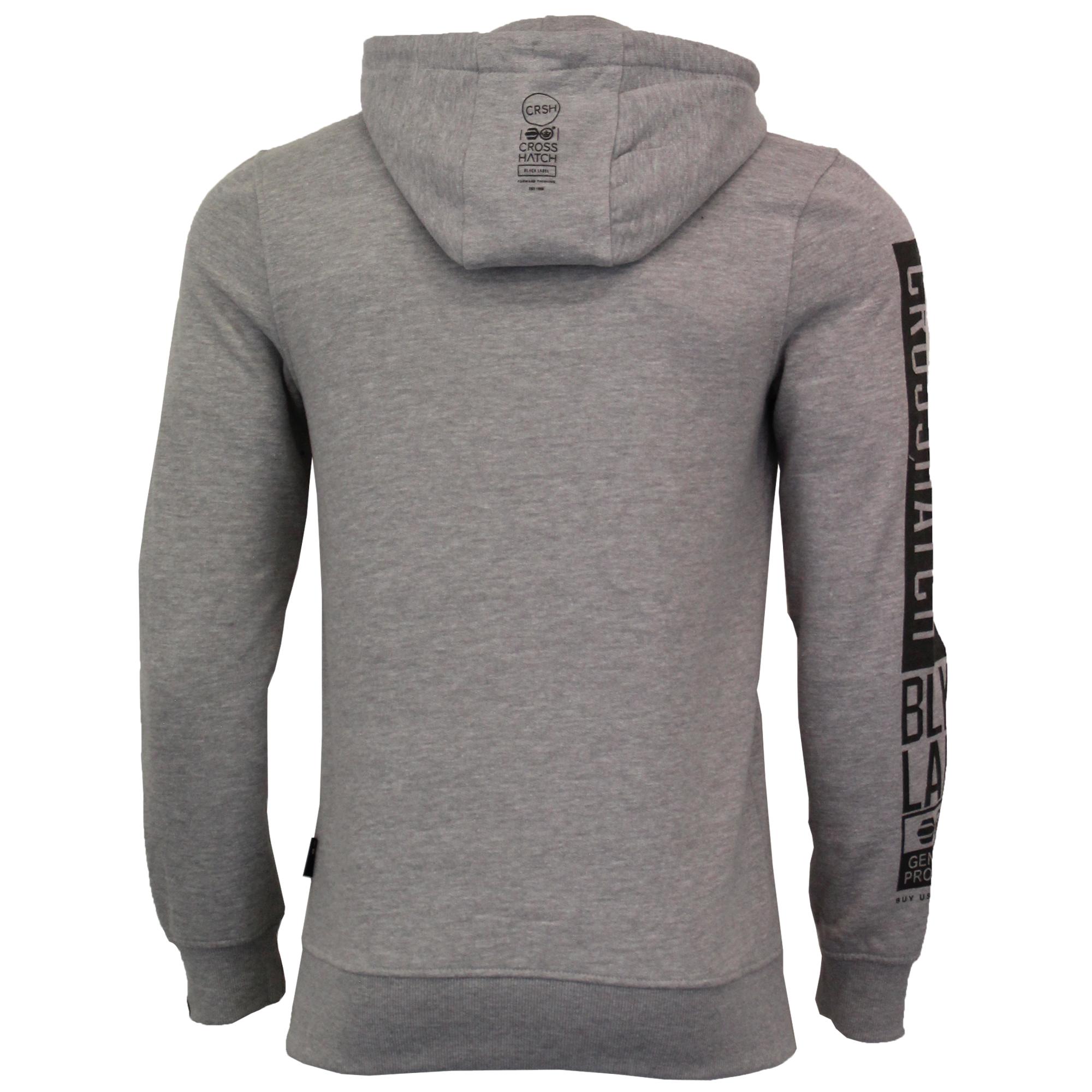 Mens-Sweatshirt-Crosshatch-Over-The-Head-Hoodie-Printed-Zip-Pullover-Top-Fleece thumbnail 12