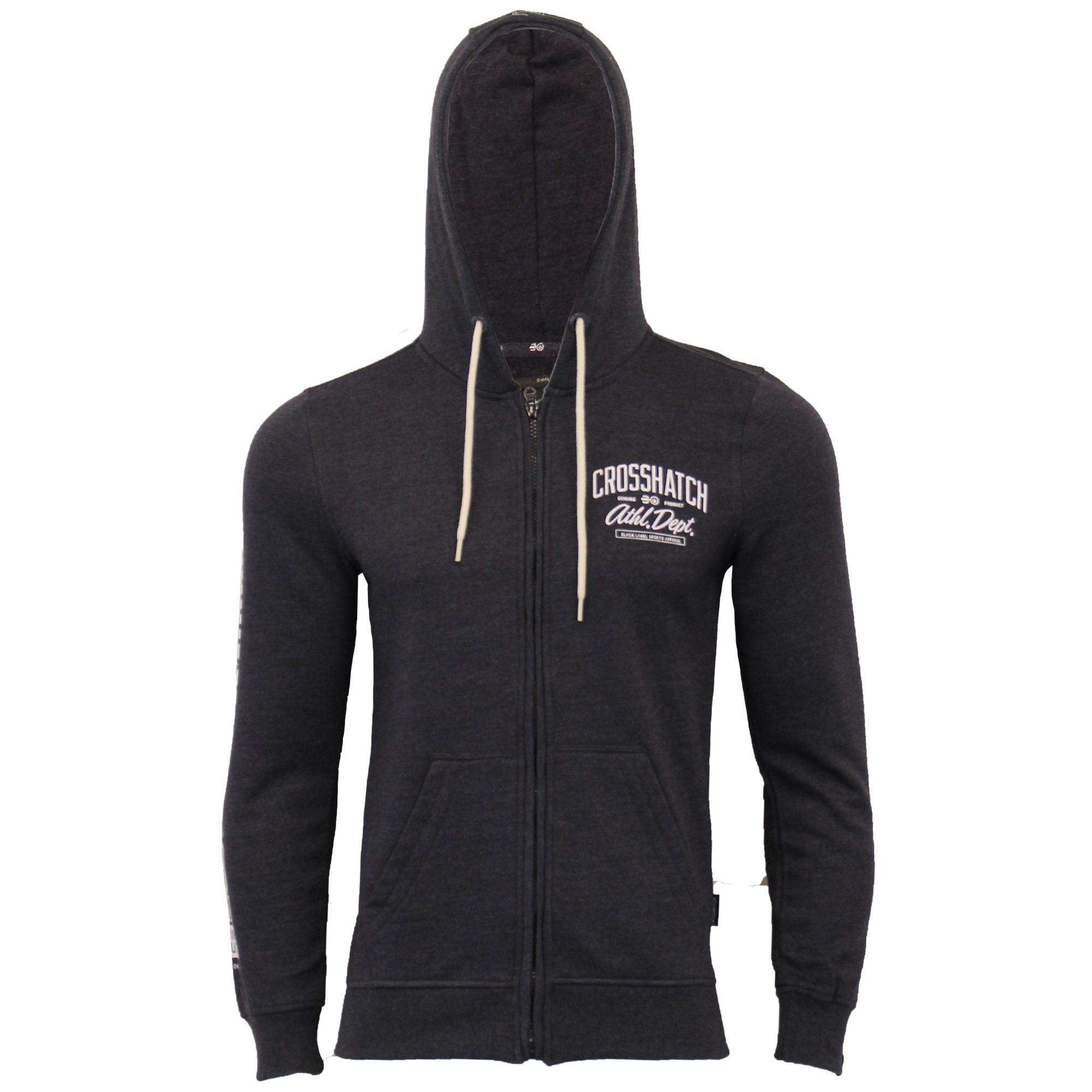 Mens-Sweatshirt-Crosshatch-Over-The-Head-Hoodie-Printed-Zip-Pullover-Top-Fleece thumbnail 19