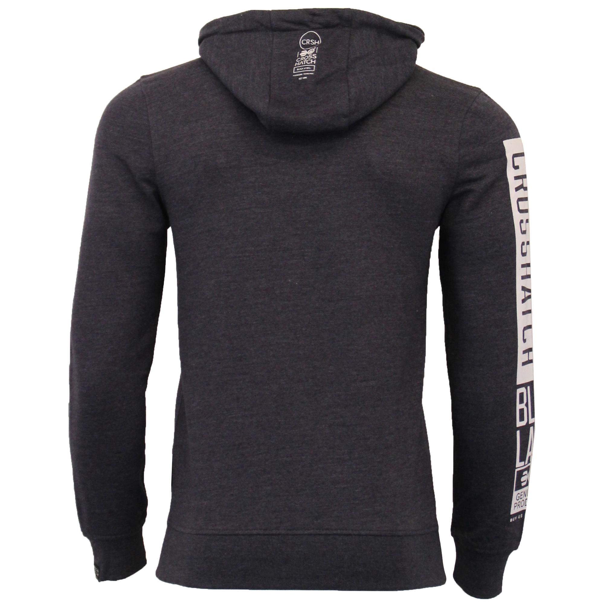 Mens-Sweatshirt-Crosshatch-Over-The-Head-Hoodie-Printed-Zip-Pullover-Top-Fleece thumbnail 21