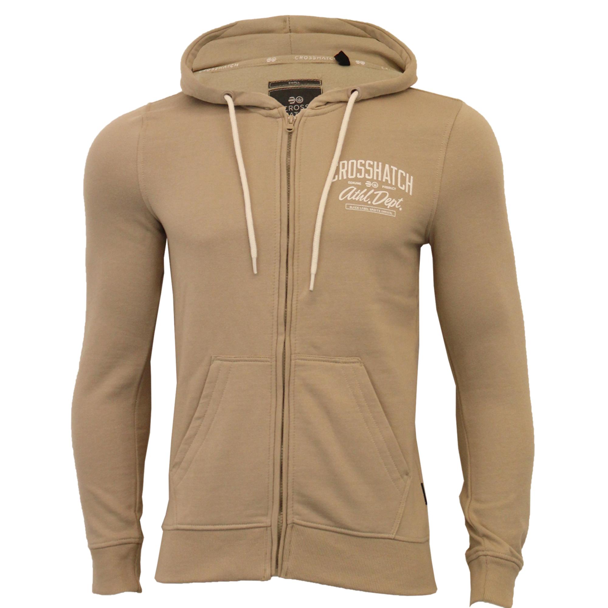 Mens-Sweatshirt-Crosshatch-Over-The-Head-Hoodie-Printed-Zip-Pullover-Top-Fleece thumbnail 23