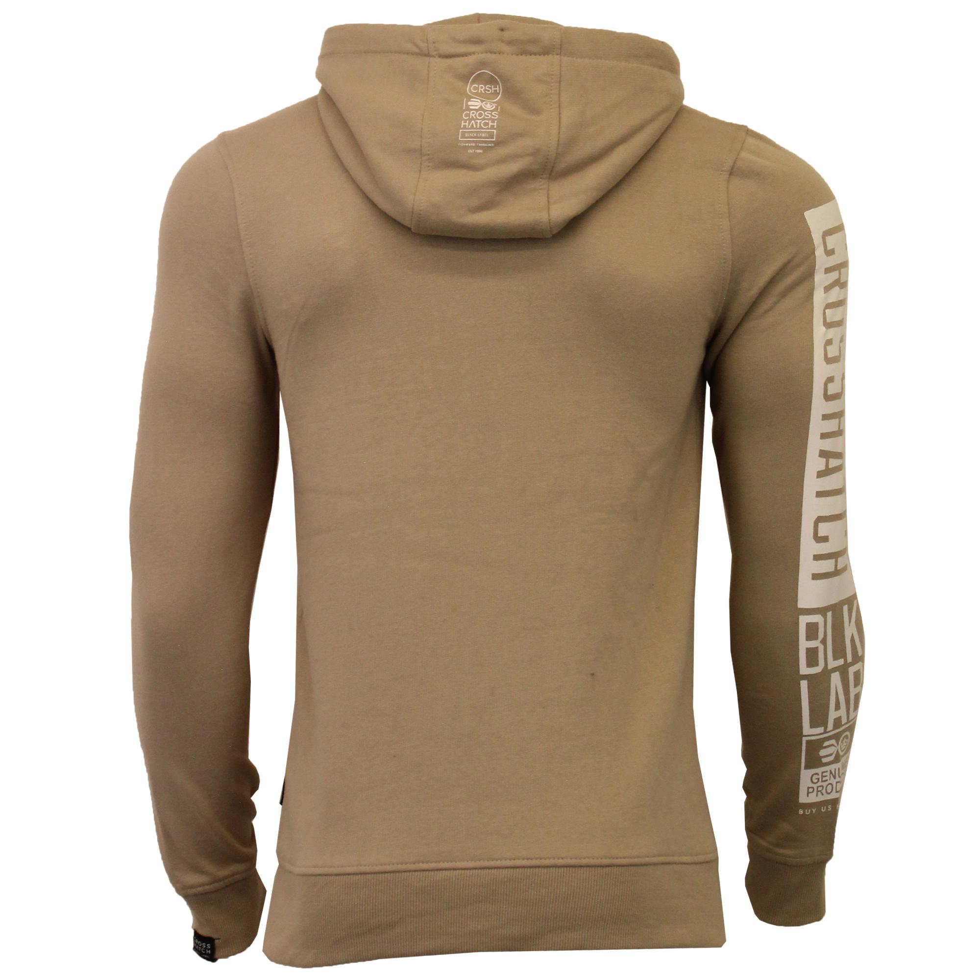 Mens-Sweatshirt-Crosshatch-Over-The-Head-Hoodie-Printed-Zip-Pullover-Top-Fleece thumbnail 24