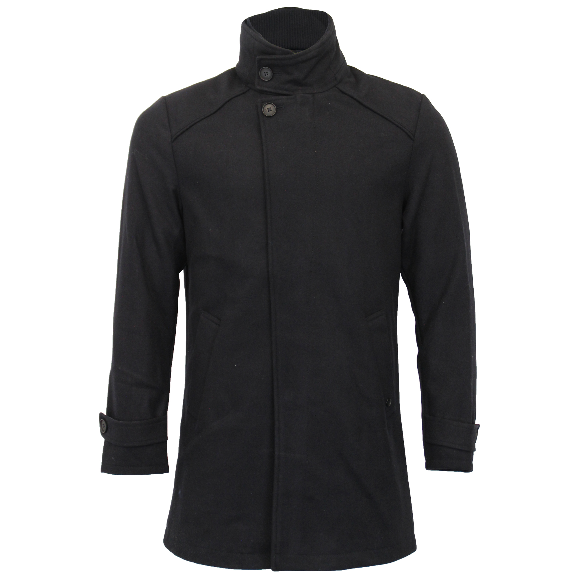 New Mens Tokyo Laundry Libertas Wool Blend Funnel Neck Button Up Coat Size S-XL