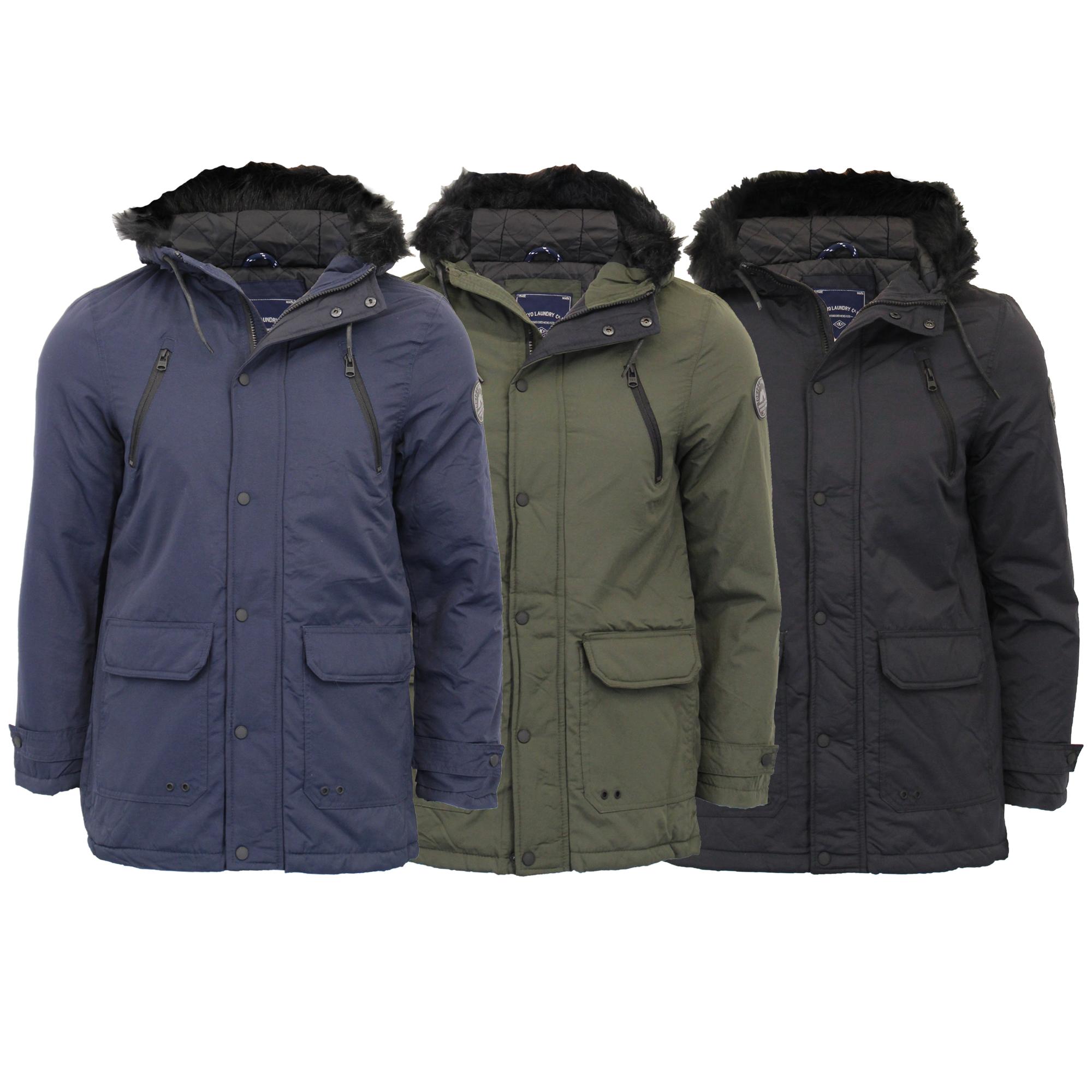 Mens Parka Jacket Tokyo Laundry Coat Hoodie Padded LENART Warm Winter Lined New