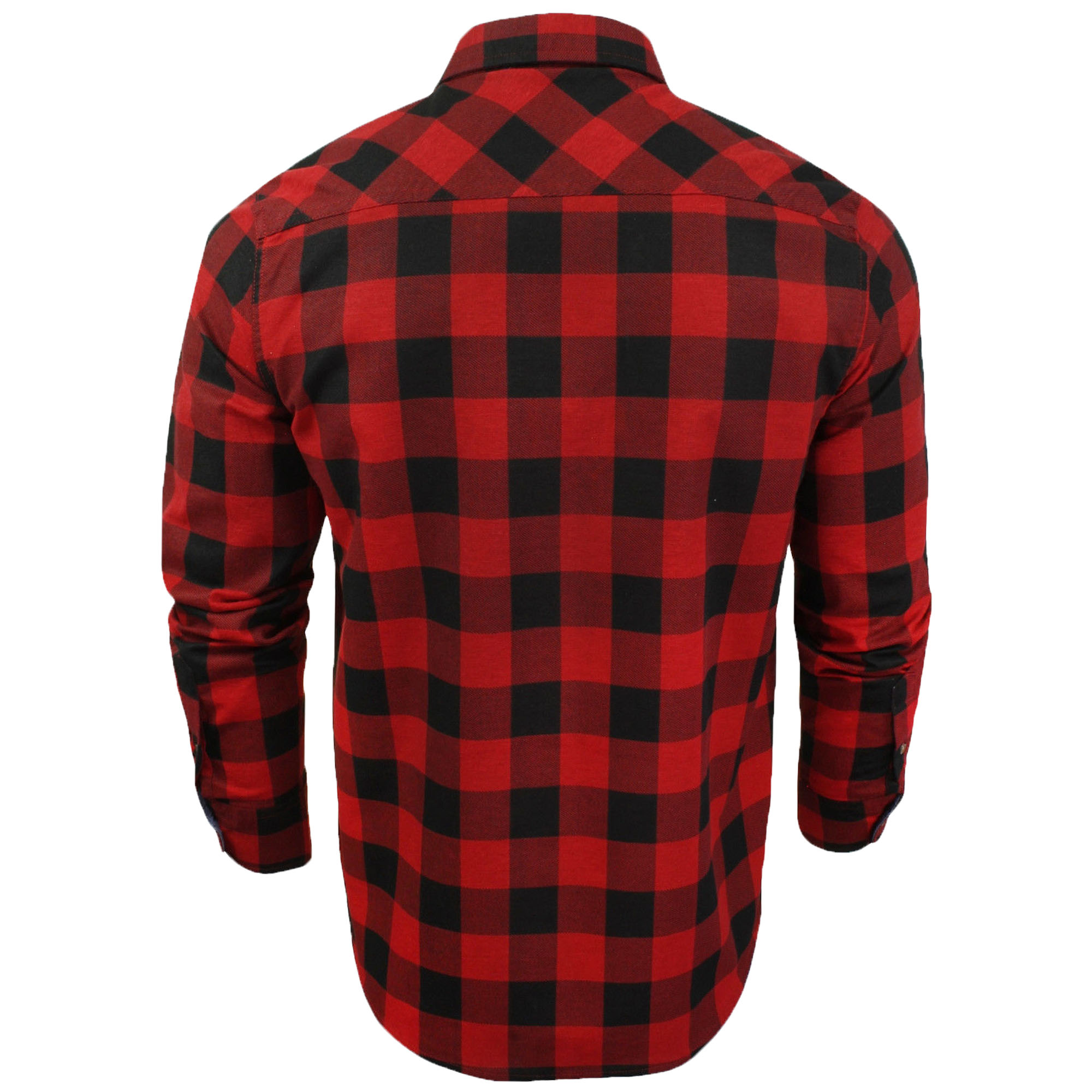 Mens-Checked-Tartan-Long-Sleeved-Collared-Shirt-By-Brave-Soul miniatuur 12