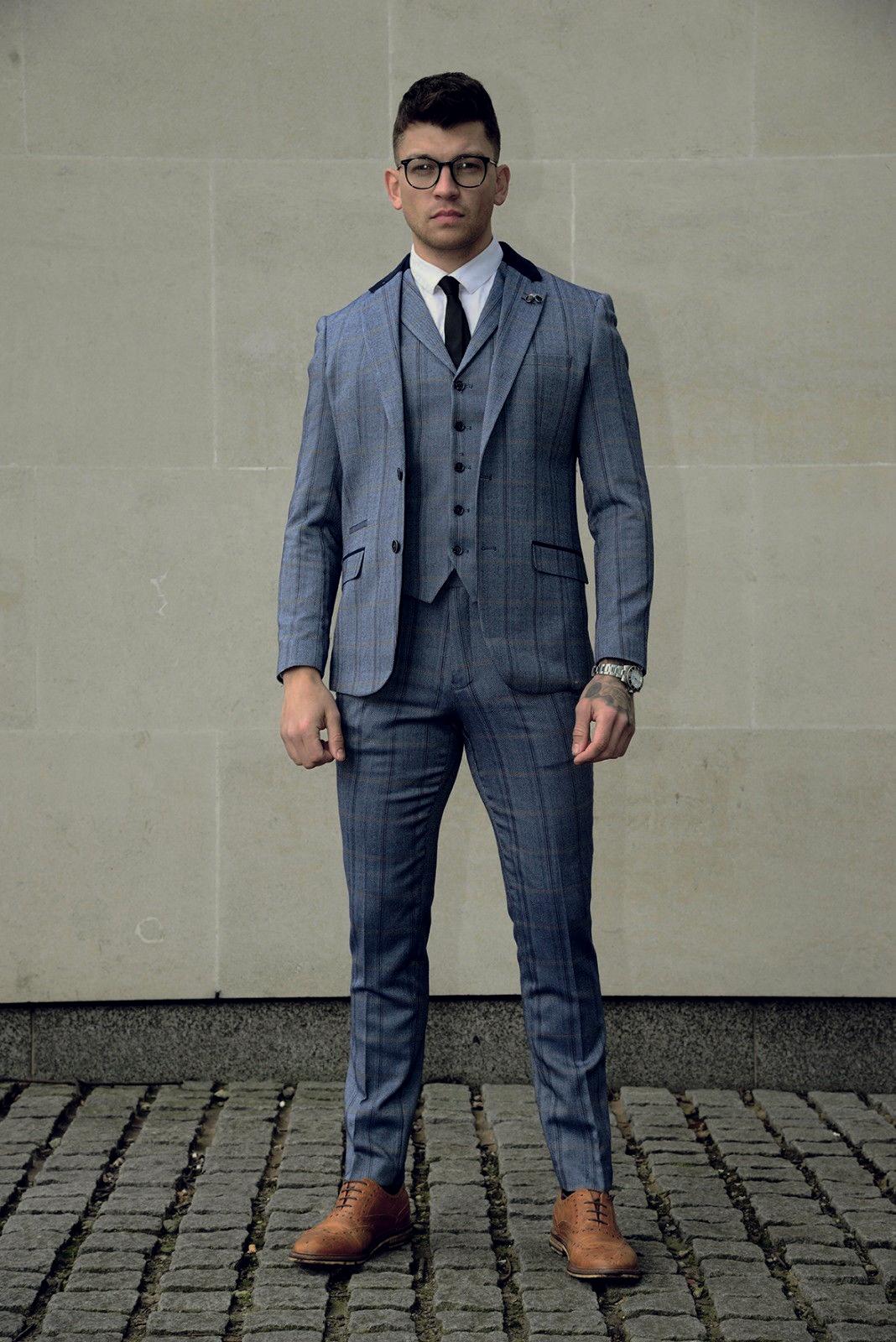 mens tweed 3 piece suit cavani blazer waistcoat trousers. Black Bedroom Furniture Sets. Home Design Ideas