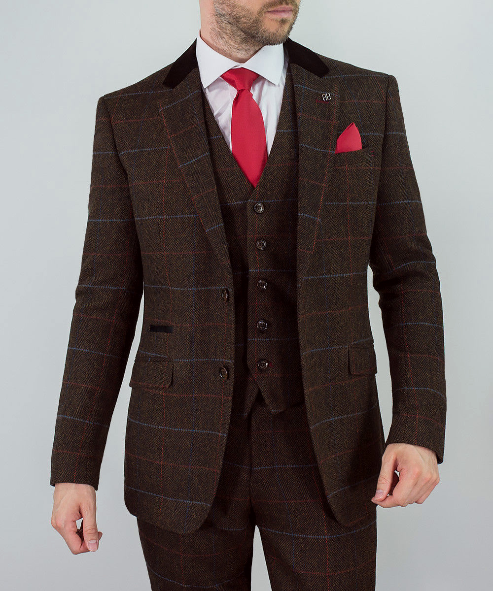 Mens-WOOL-MIX-Tweed-3-Piece-Suit-Cavani-Blazer-Waistcoat-Trouser-Peaky-Blinders thumbnail 4