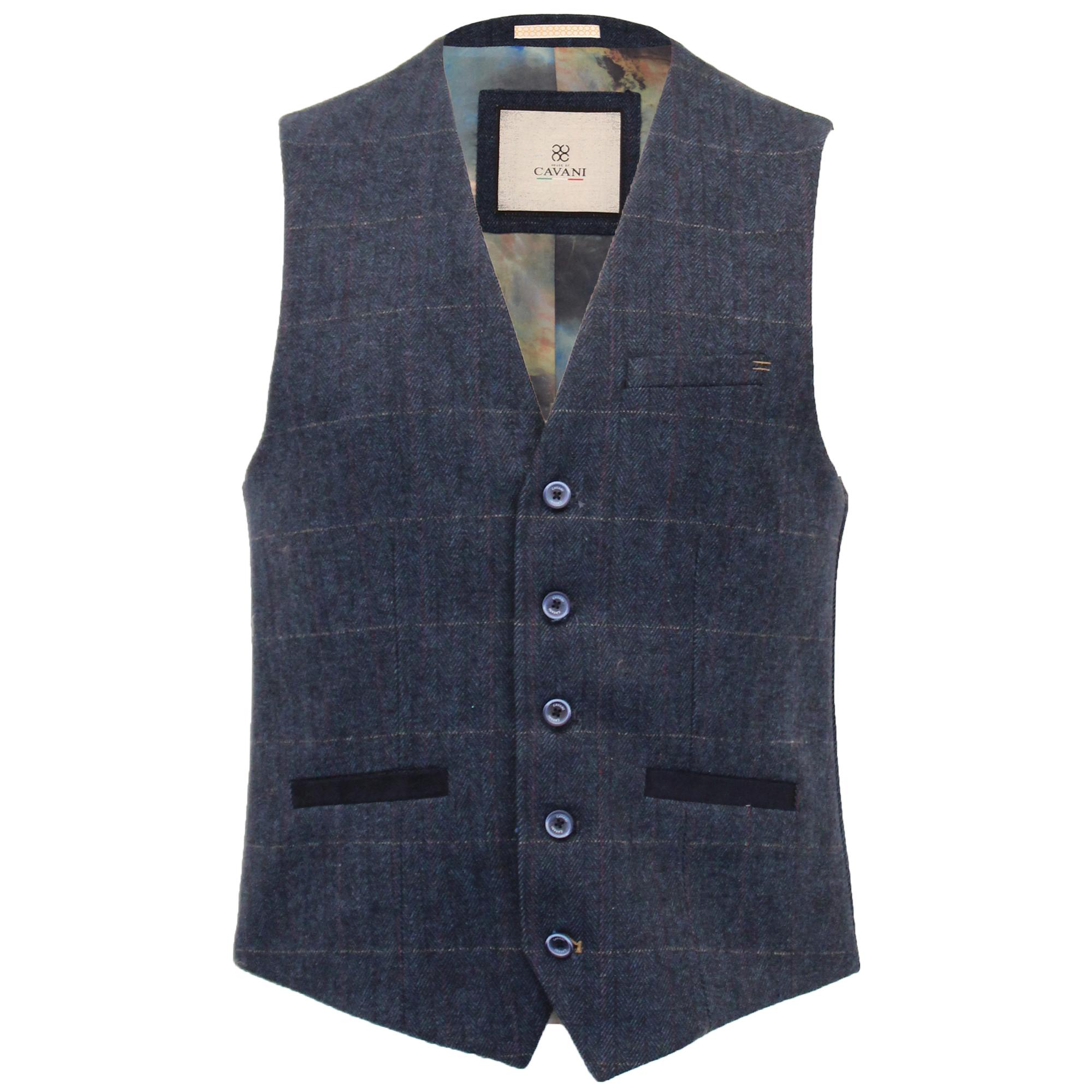 Mens-Wool-Mix-3-Piece-Tweed-Suit-Cavani-CARNEGI-Checked-Peaky-Blinders-Party-New thumbnail 7