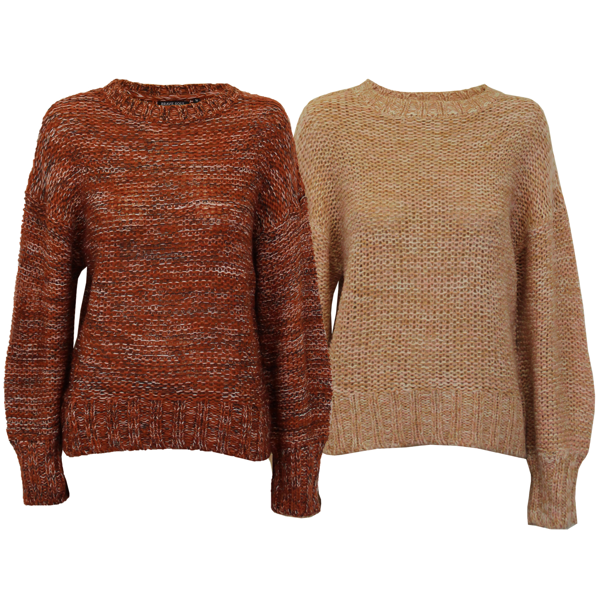 d4166e1372c Details about Ladies Cable Knitted Jumper Brave Soul Womens Sweater RIVER  Crew Neck Winter New