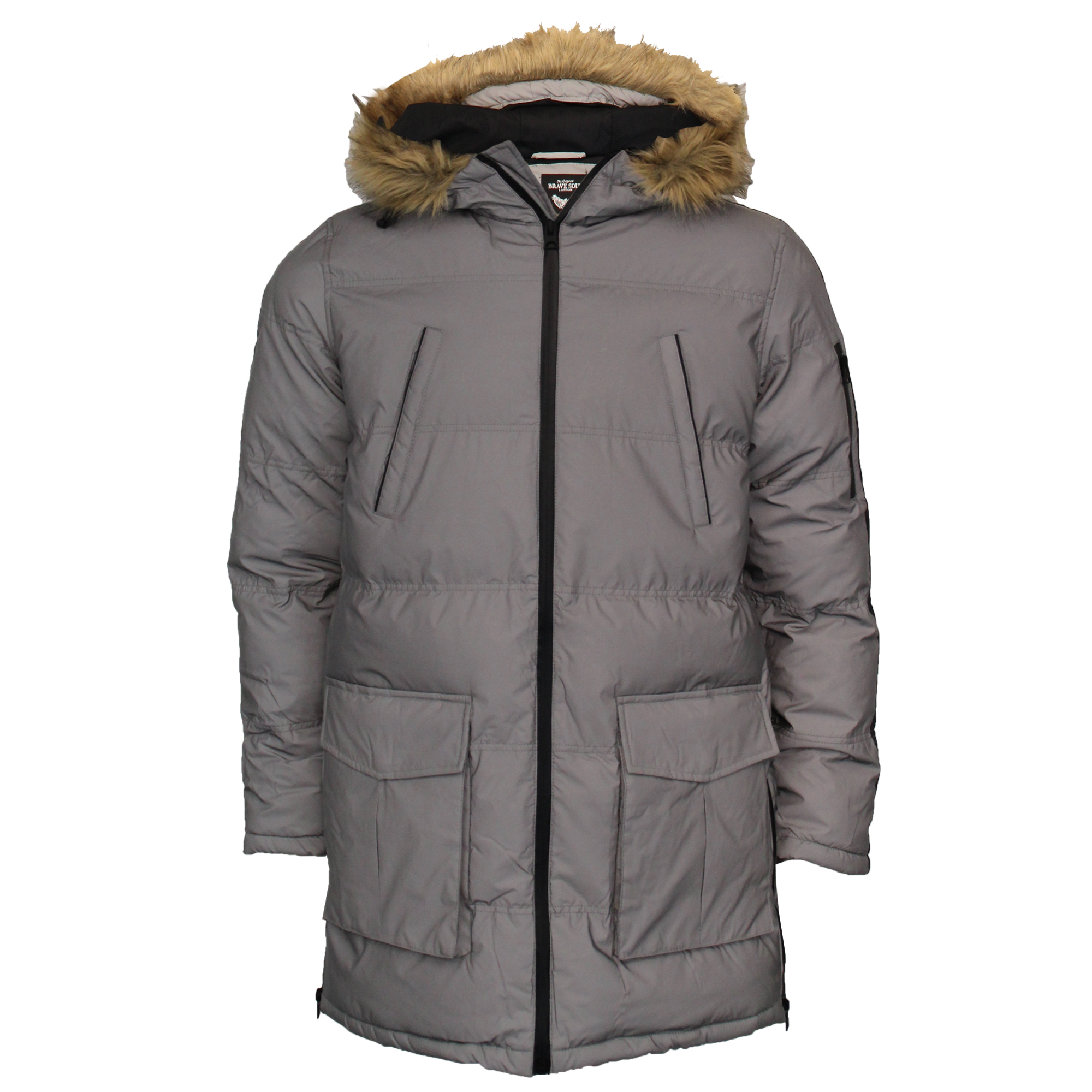 Mens-Reflective-Long-Bubble-Parka-Jacket-Brave-Soul-Coat-Hooded-Padded-Winter thumbnail 7