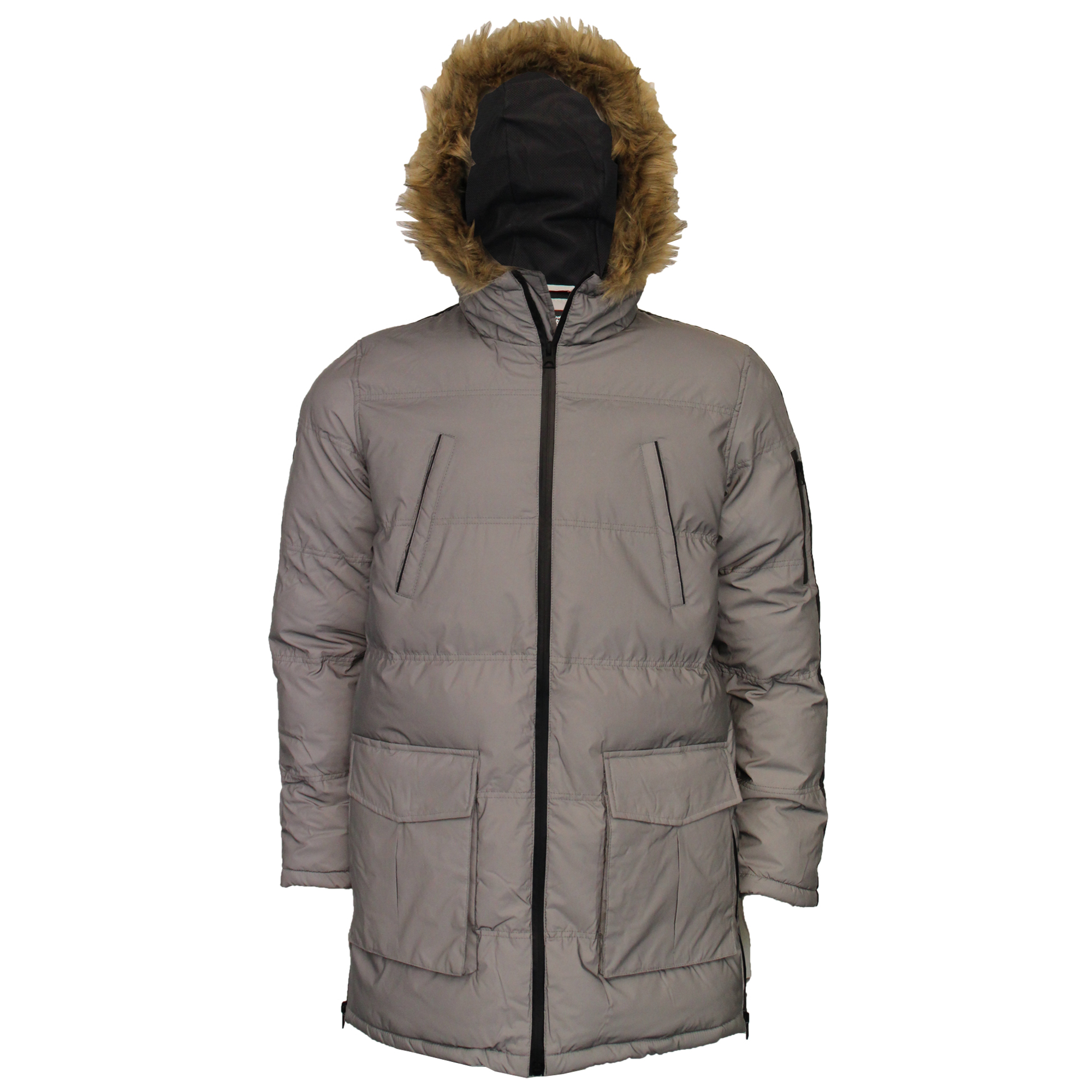 Mens-Reflective-Long-Bubble-Parka-Jacket-Brave-Soul-Coat-Hooded-Padded-Winter thumbnail 8