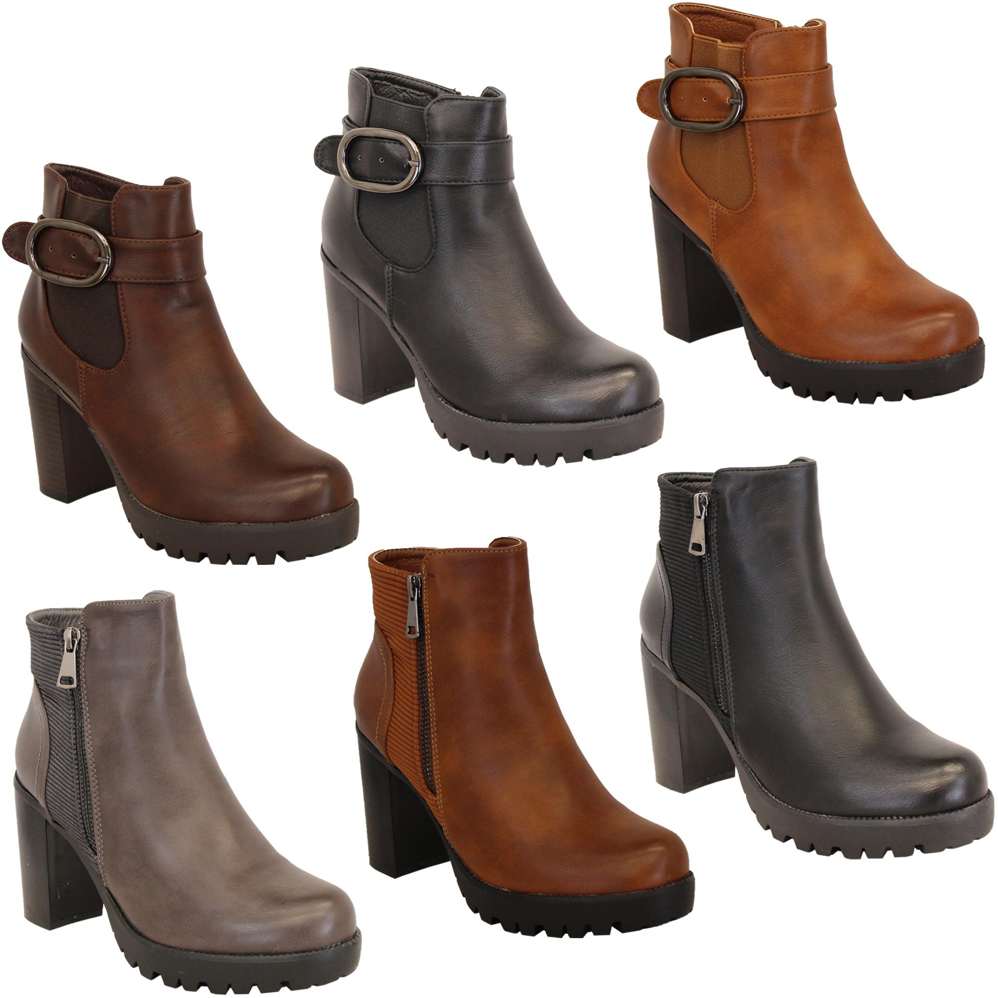 zapatos para correr buena calidad última moda Detalles de Bota Tipo Chelsea para Dama Mujer Cowboy Biker Plataforma  Bloque Tobillo Militar