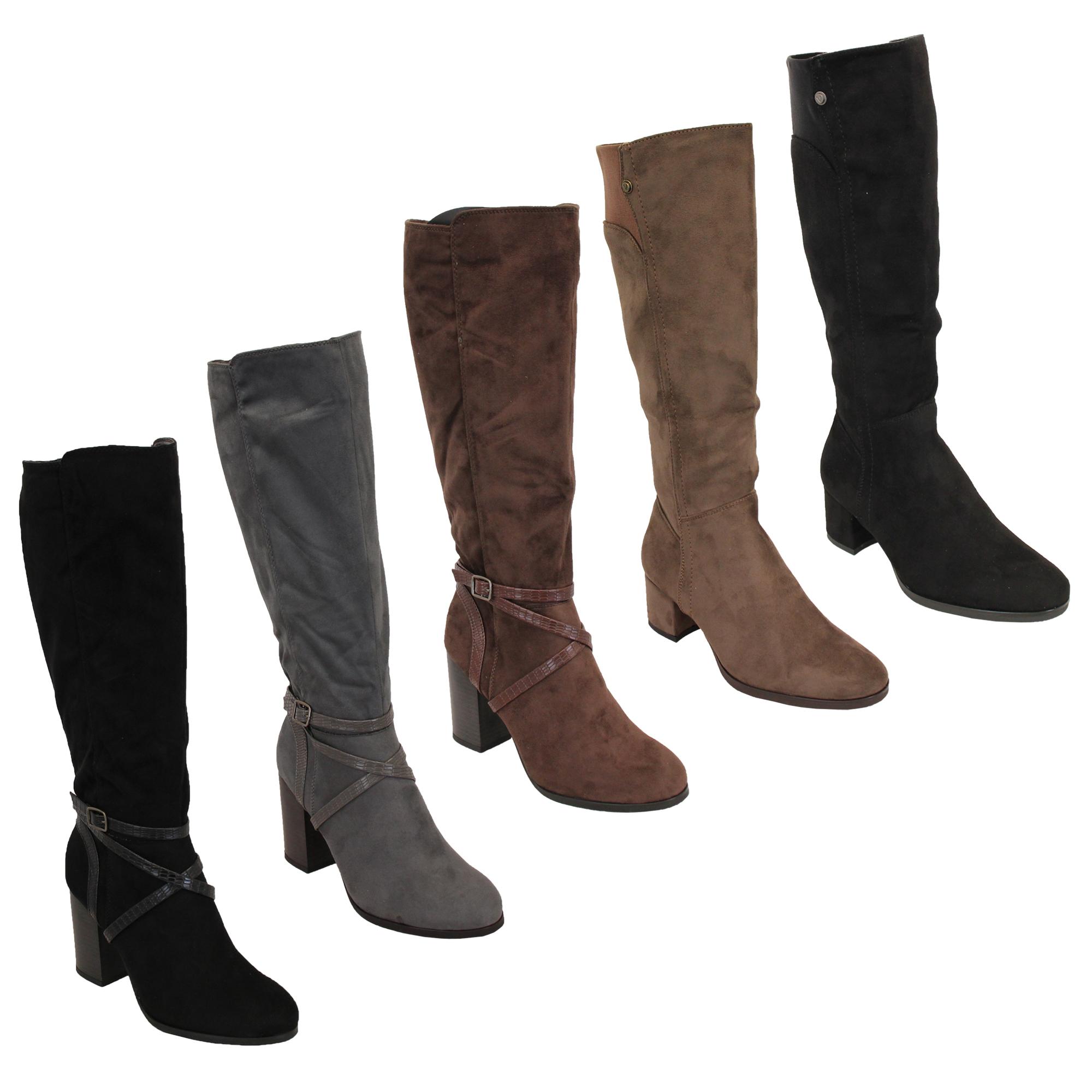 Ladies Knee Calf Length Boots Womens