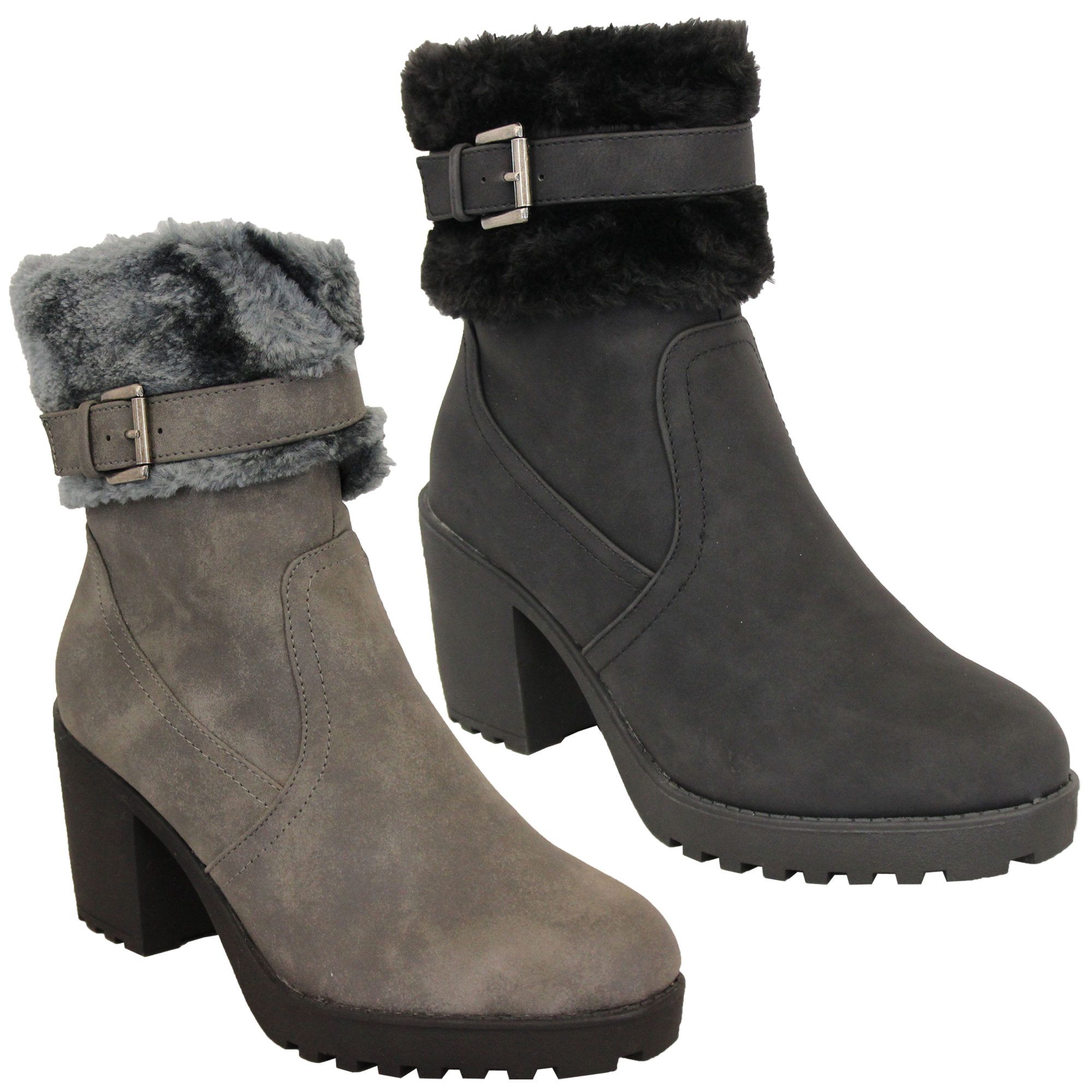 Ladies-Block-Heel-Chelsea-Ankle-Boots-Womens-Fur-Buckle-Warm-Casual-Winter-New thumbnail 4