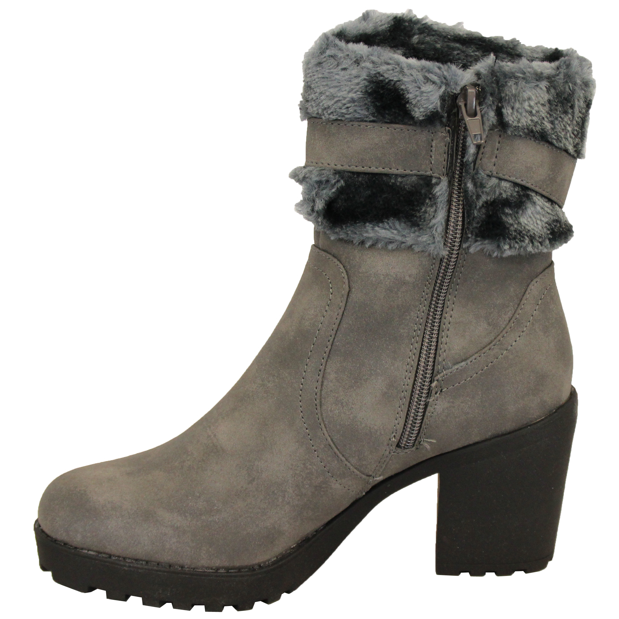 Ladies-Block-Heel-Chelsea-Ankle-Boots-Womens-Fur-Buckle-Warm-Casual-Winter-New thumbnail 6
