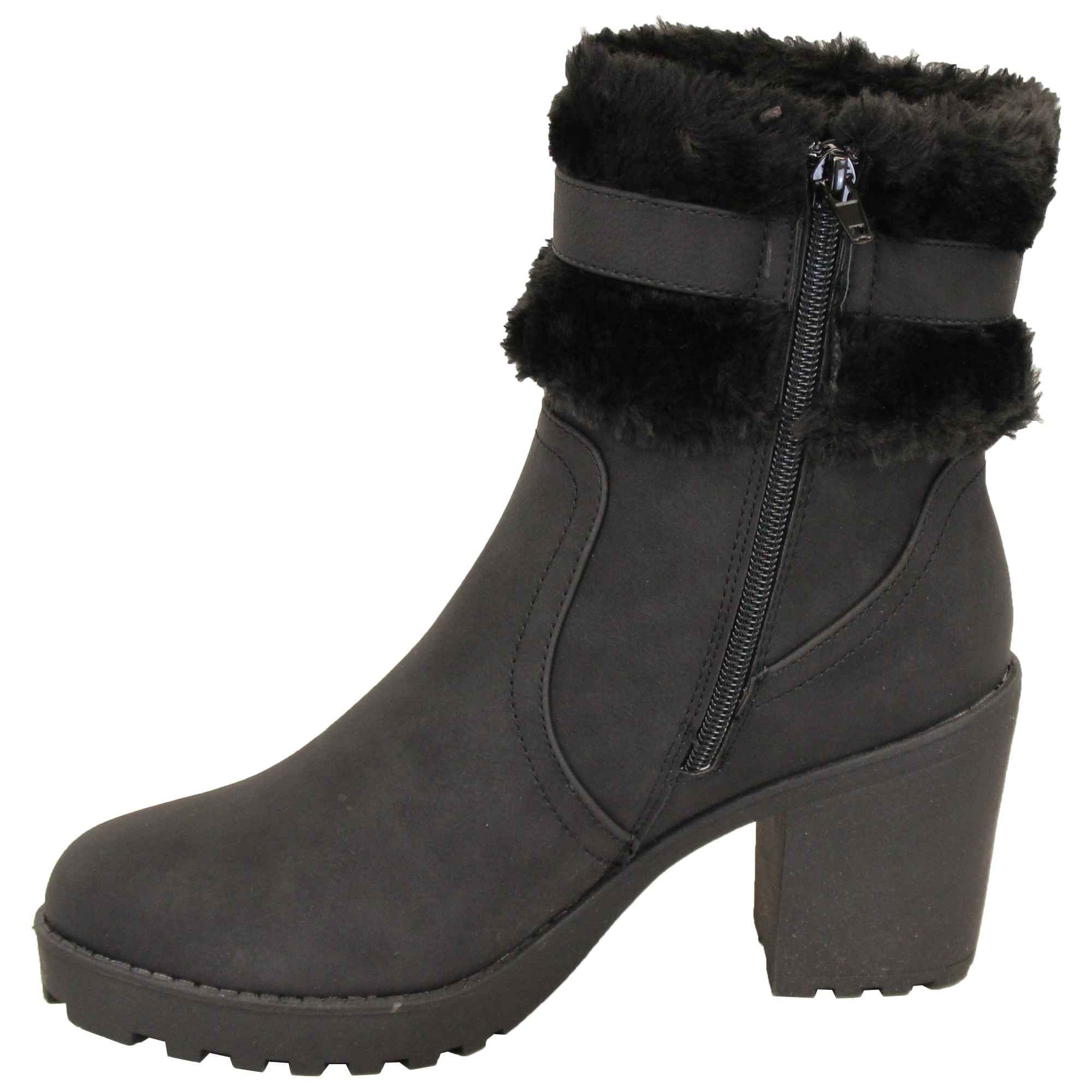 Ladies-Block-Heel-Chelsea-Ankle-Boots-Womens-Fur-Buckle-Warm-Casual-Winter-New thumbnail 3
