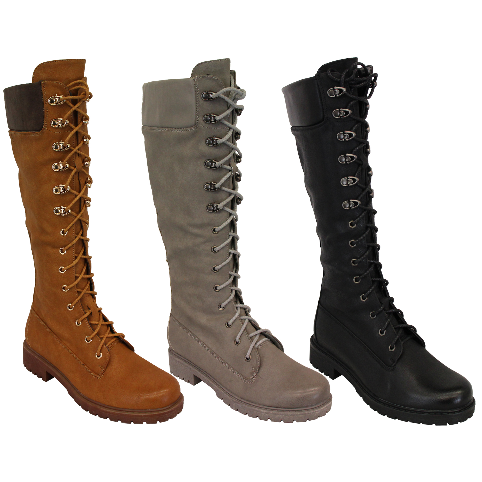 11b70bb78b0 Details about Ladies Knee Calf Length Boots Womens Lace Up Side Zipped  Military Shoes Winter