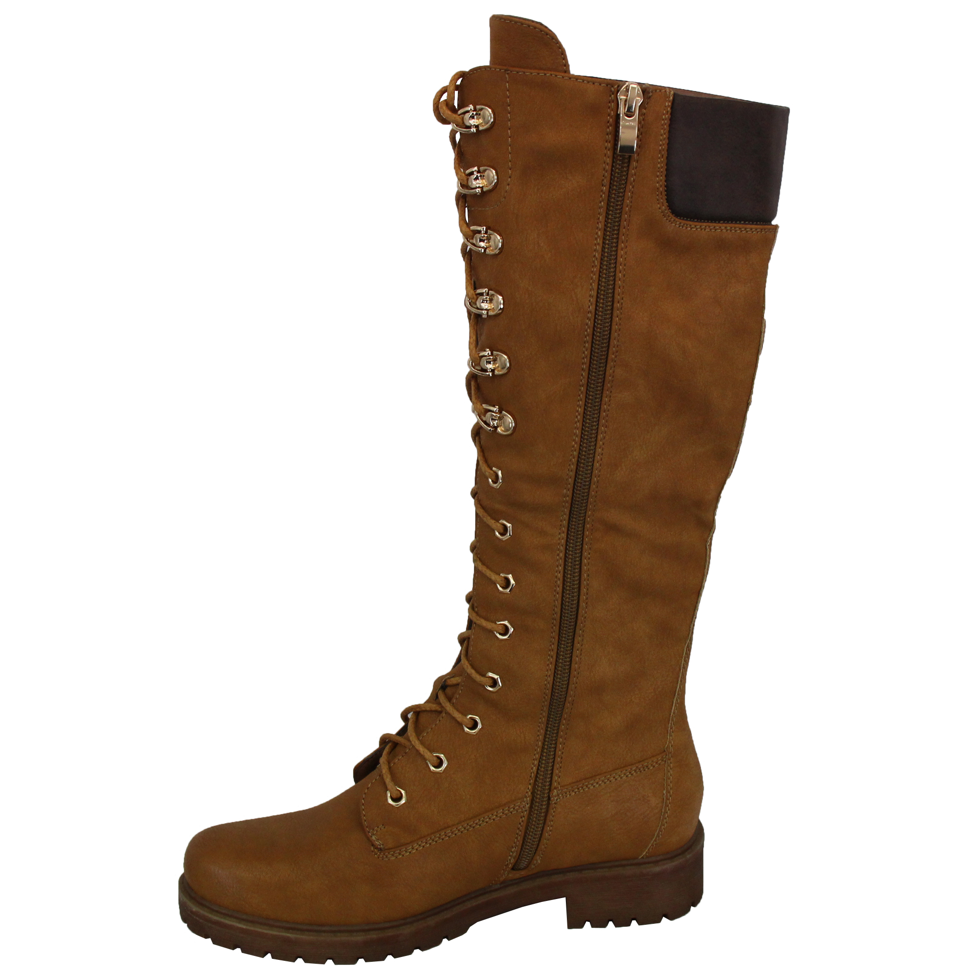 Ladies Knee Calf Length Boots Womens Lace Up Side Zipped Military Shoes Winter