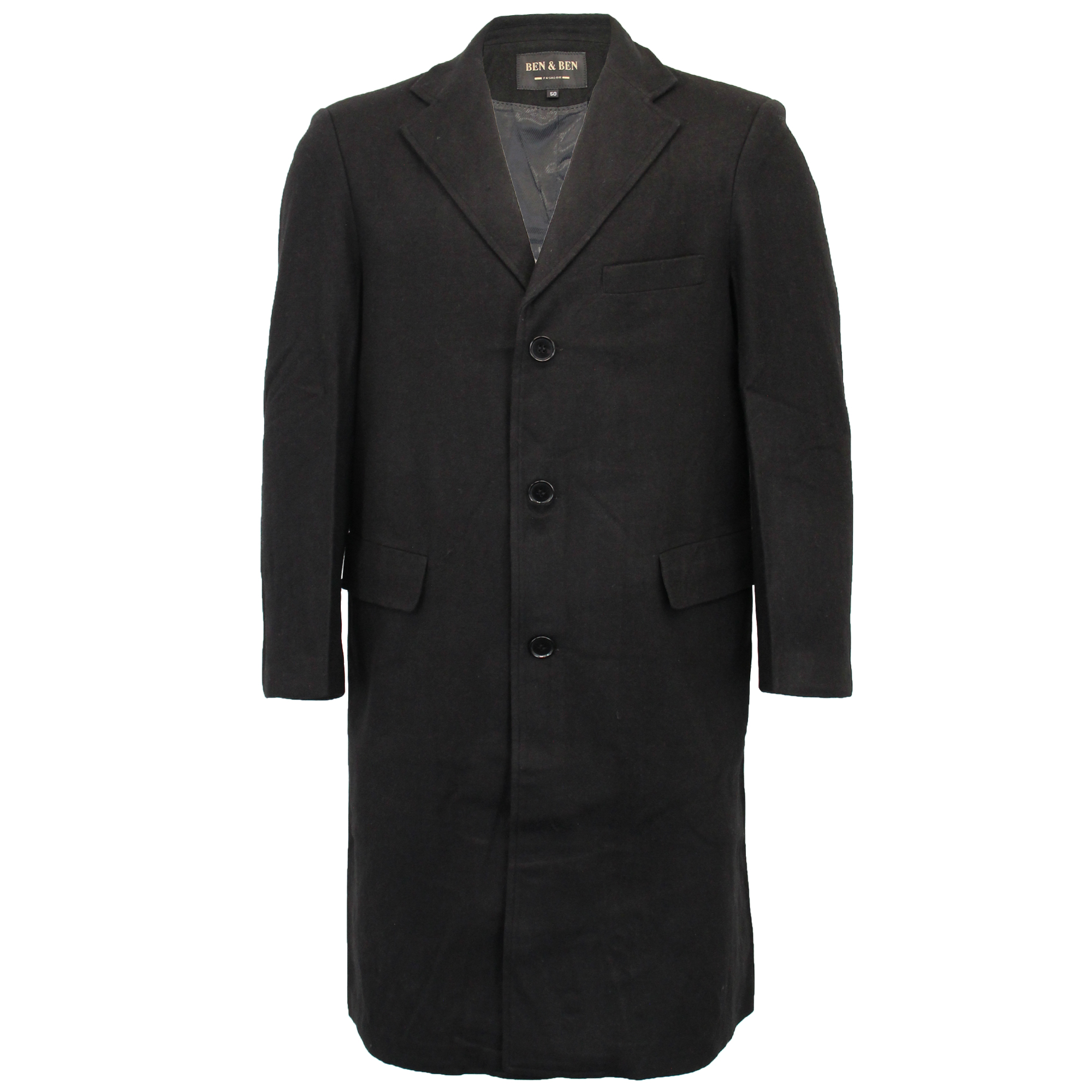 Mens-Wool-Mix-Jacket-Long-Trench-Coat-Collared-Concealed-Button-Lined-Winter-New thumbnail 2