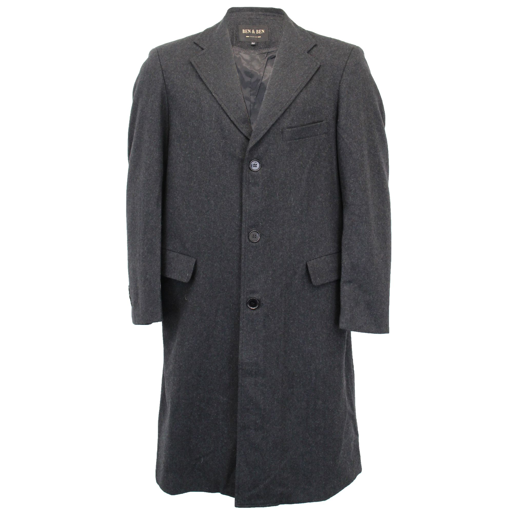 Mens-Wool-Mix-Jacket-Long-Trench-Coat-Collared-Concealed-Button-Lined-Winter-New thumbnail 8