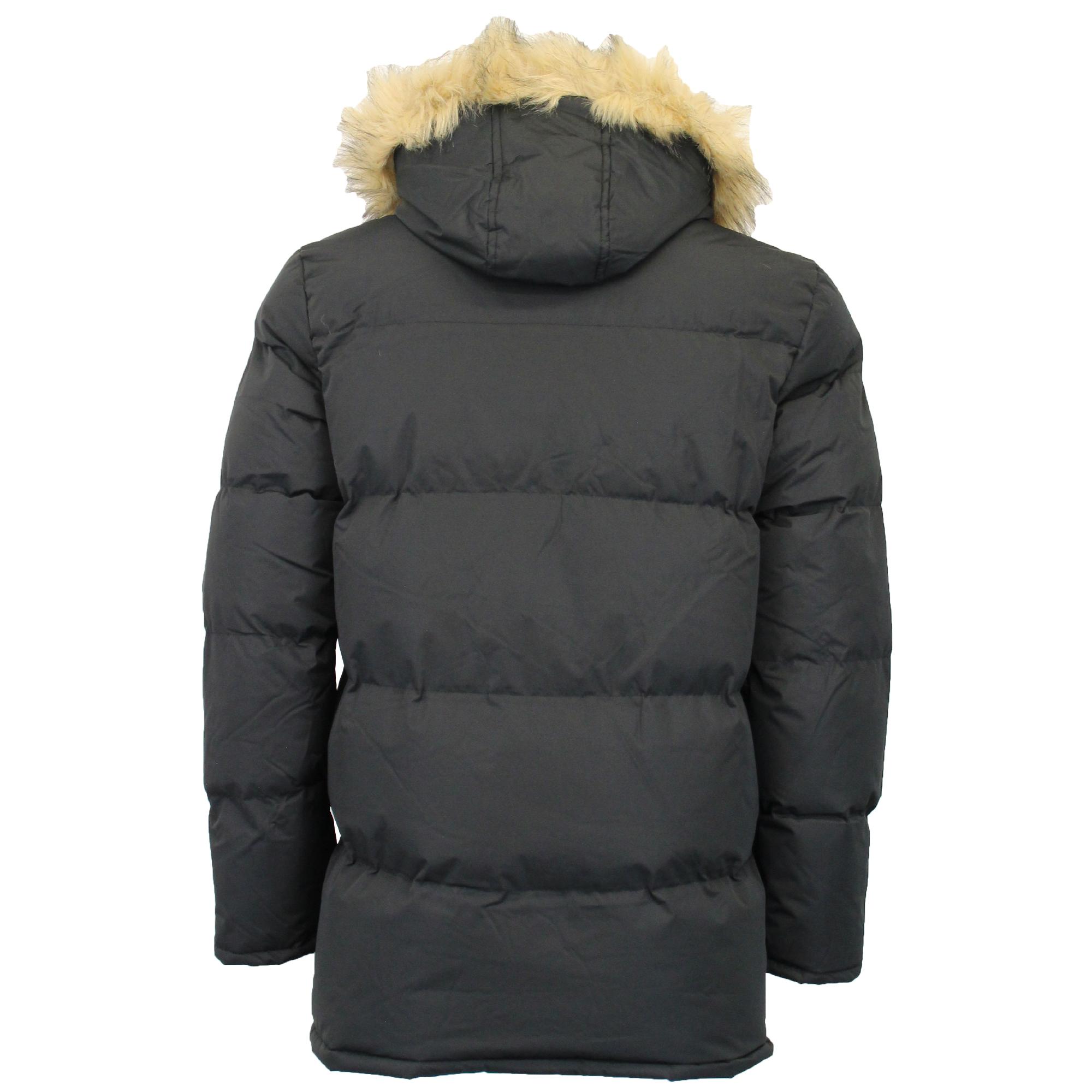 best service 59539 2526e Details zu Mens Parka Jacket Brave Soul Coat Hoodie Faux Fur Padded EVEREST  Warm Winter New