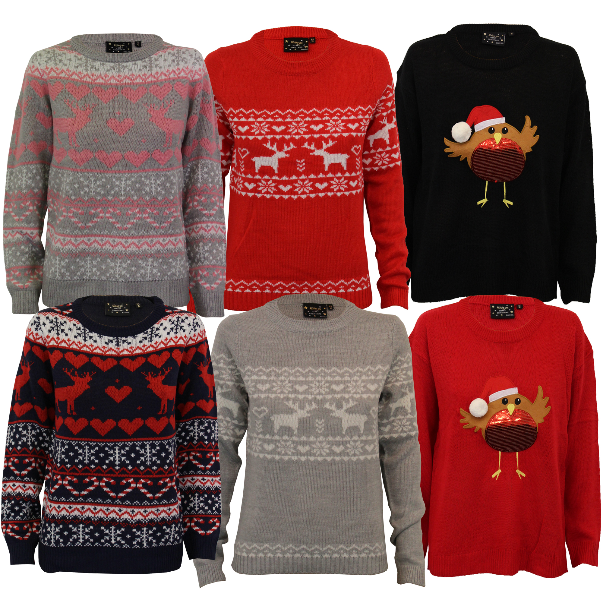 dae74fa5ff18 Ladies Xmas Jumper Brave Soul Womens Christmas Tree Novelty Robin ...
