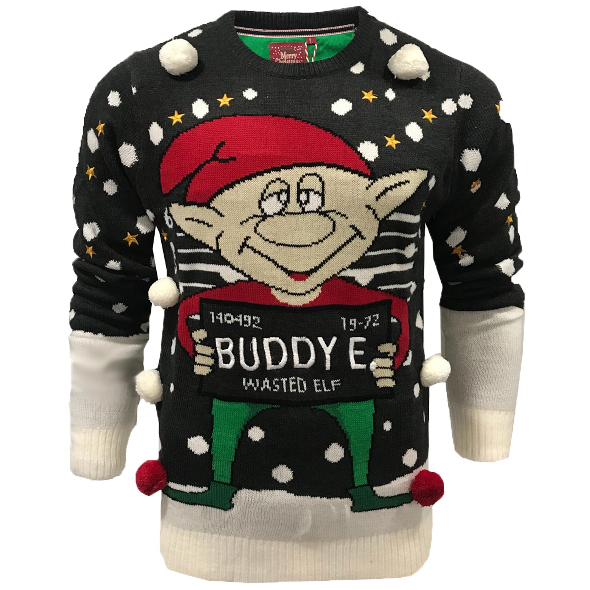 Mens Xmas Jumper Brave Soul Christmas Novelty Hoody Crew Neck Santa Claus Elf