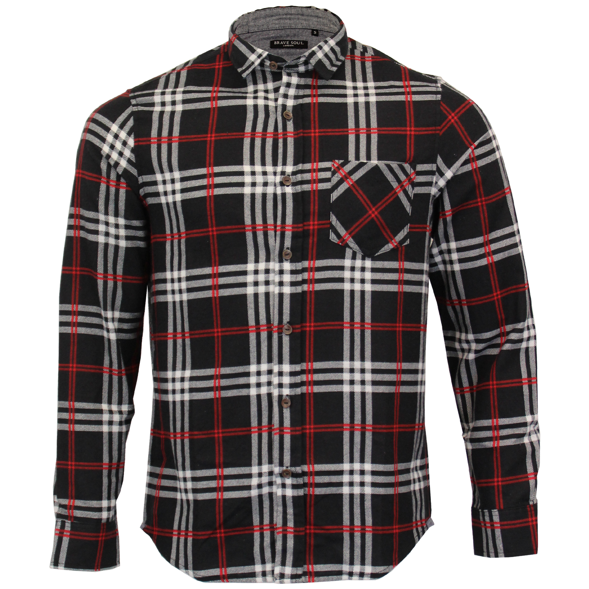 Mens-Checked-Tartan-Long-Sleeved-Collared-Shirt-By-Brave-Soul miniatuur 2