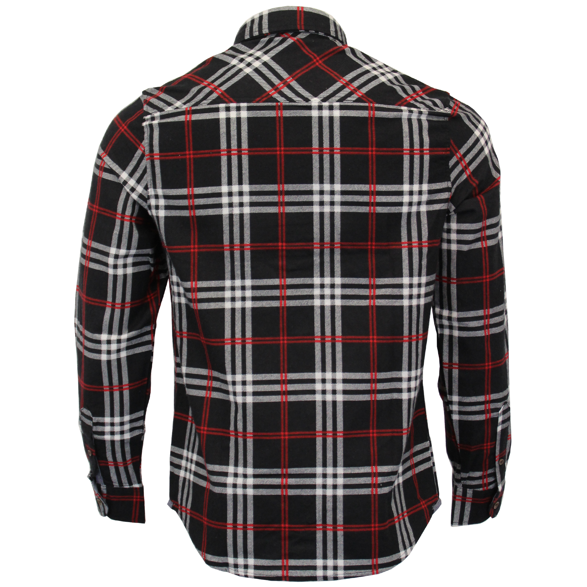 Mens-Checked-Tartan-Long-Sleeved-Collared-Shirt-By-Brave-Soul miniatuur 3