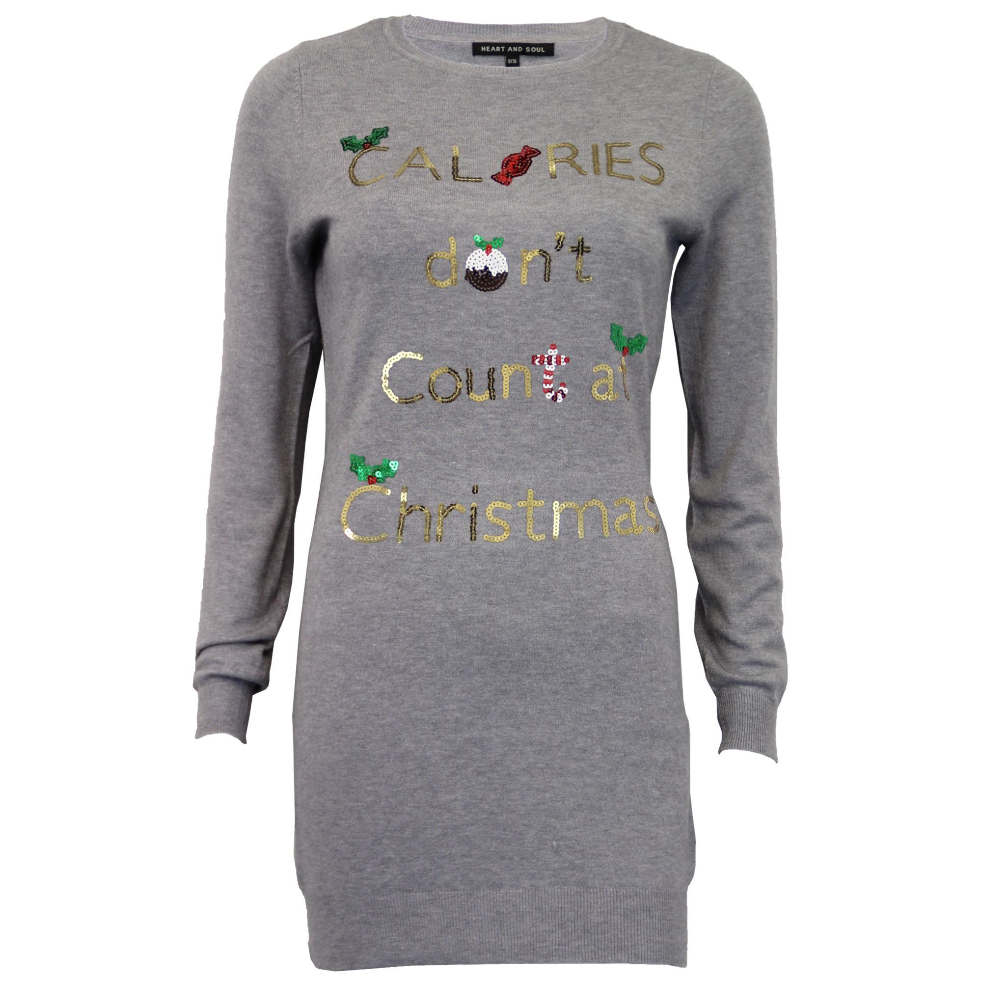 Damen-Xmas-Lang-Pullover-Damen-Kleid-Weihnachten-Glitzernde-Pailletten-Neuheit-Party-NEU Indexbild 7