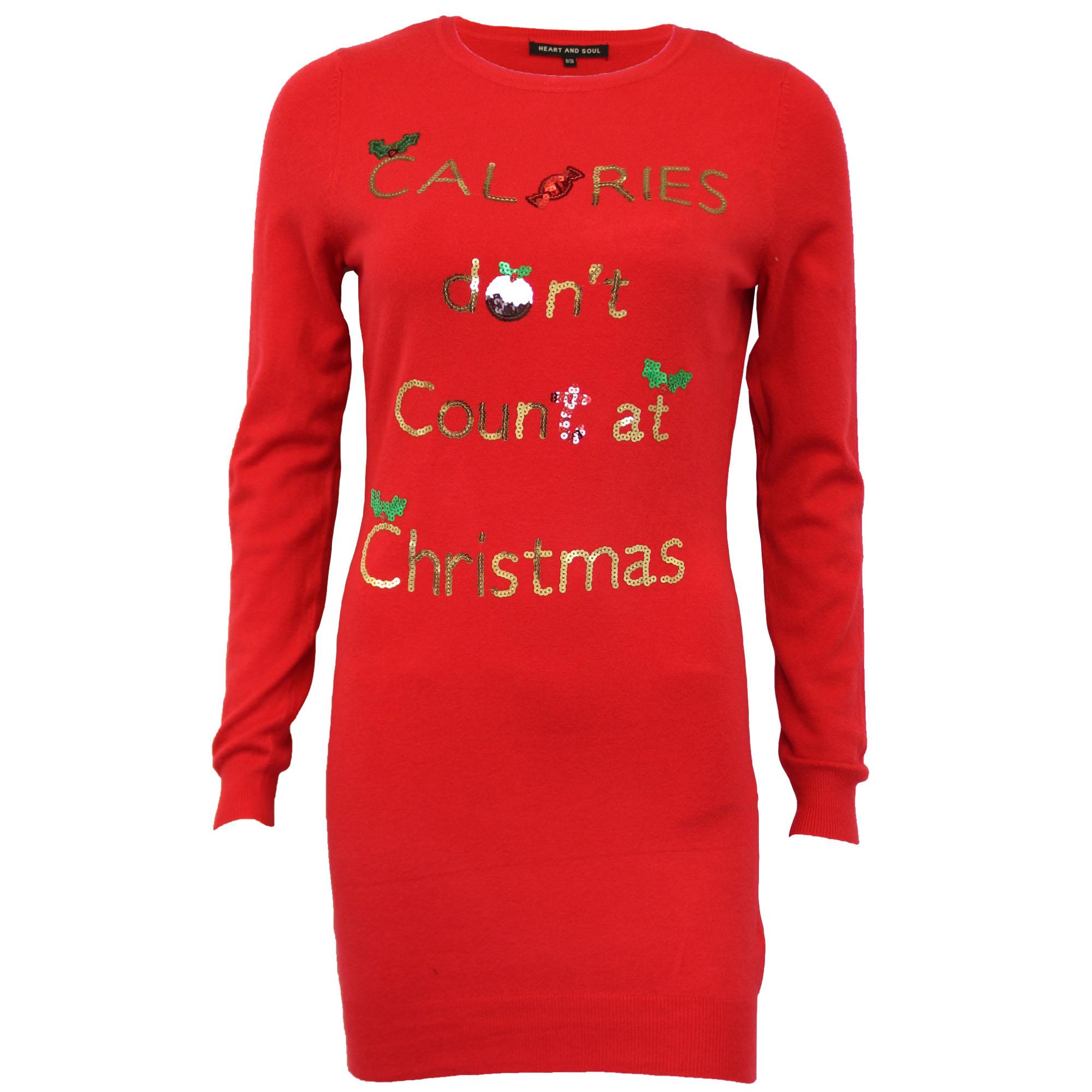Damen-Xmas-Lang-Pullover-Damen-Kleid-Weihnachten-Glitzernde-Pailletten-Neuheit-Party-NEU Indexbild 13