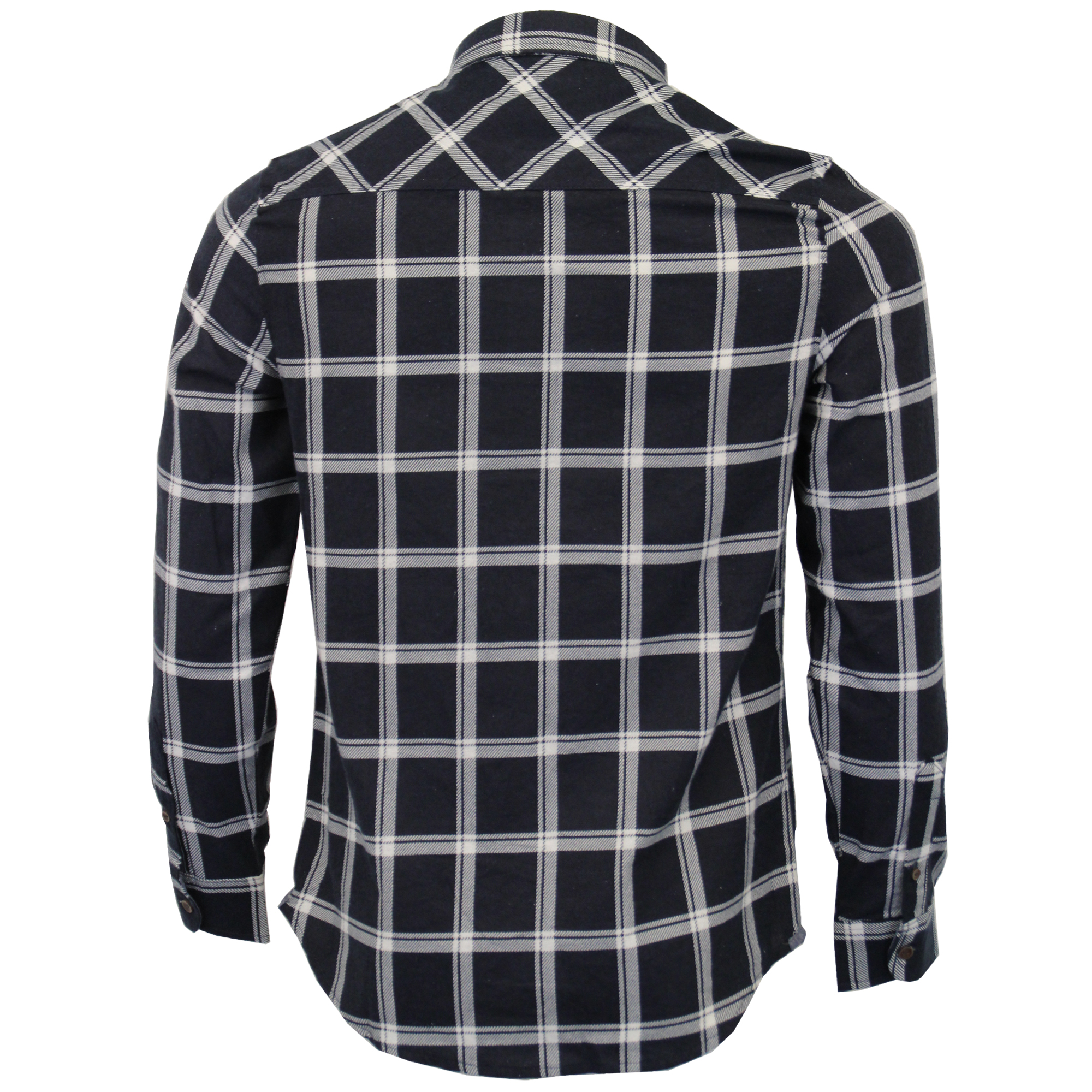 Mens-Checked-Tartan-Long-Sleeved-Collared-Shirt-By-Brave-Soul miniatuur 6