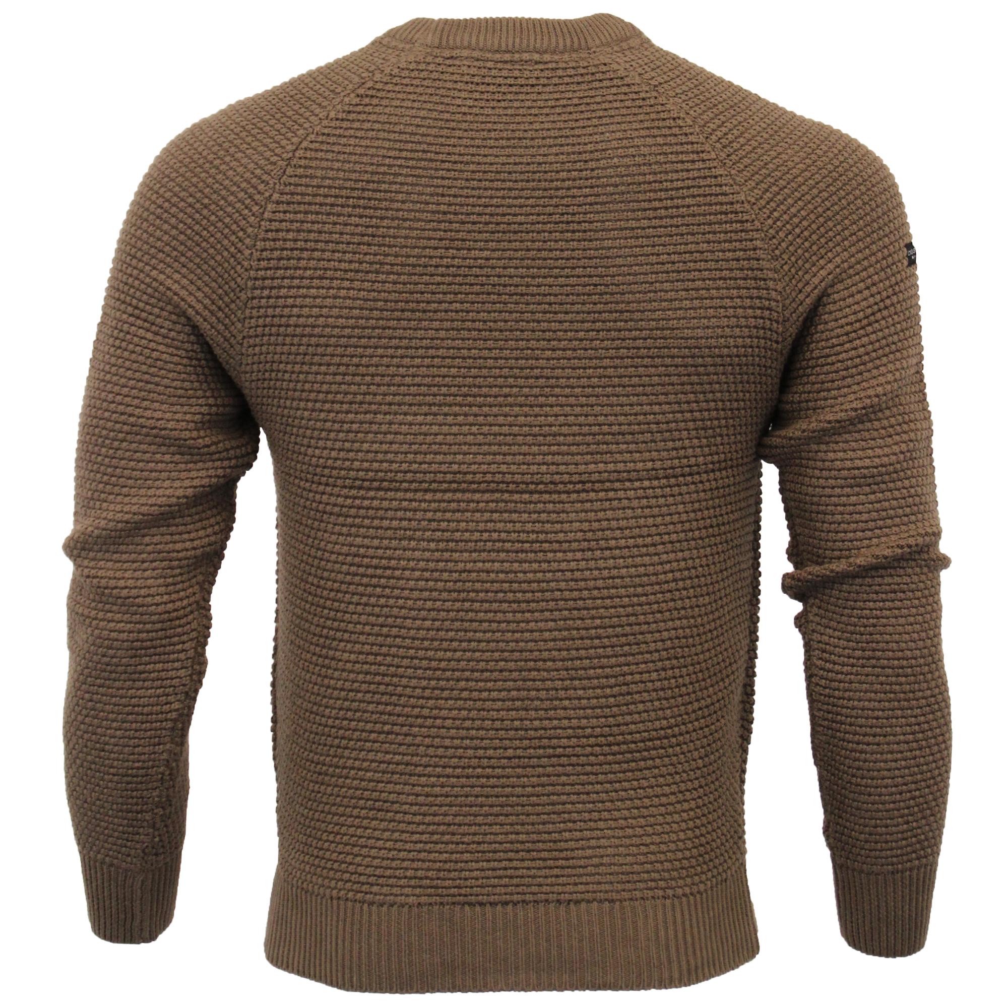 Mens Waffle Jumper Crosshatch Knitted Cotton Sweater Pullover Top KERMER Winter