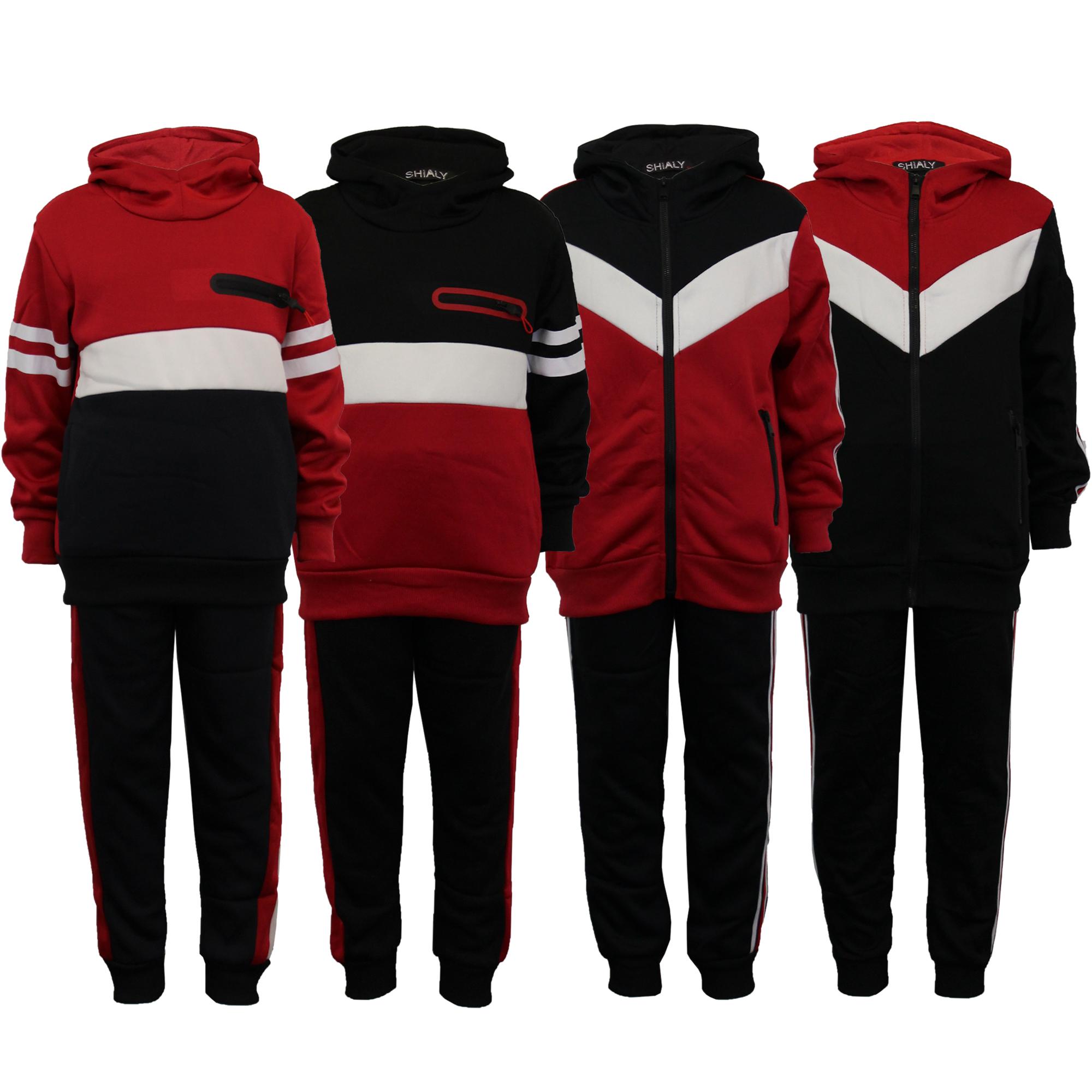 Fashion-Survetement Pantalon avec Sweat zipp/é et /à Capuche-Noir-gar/çon