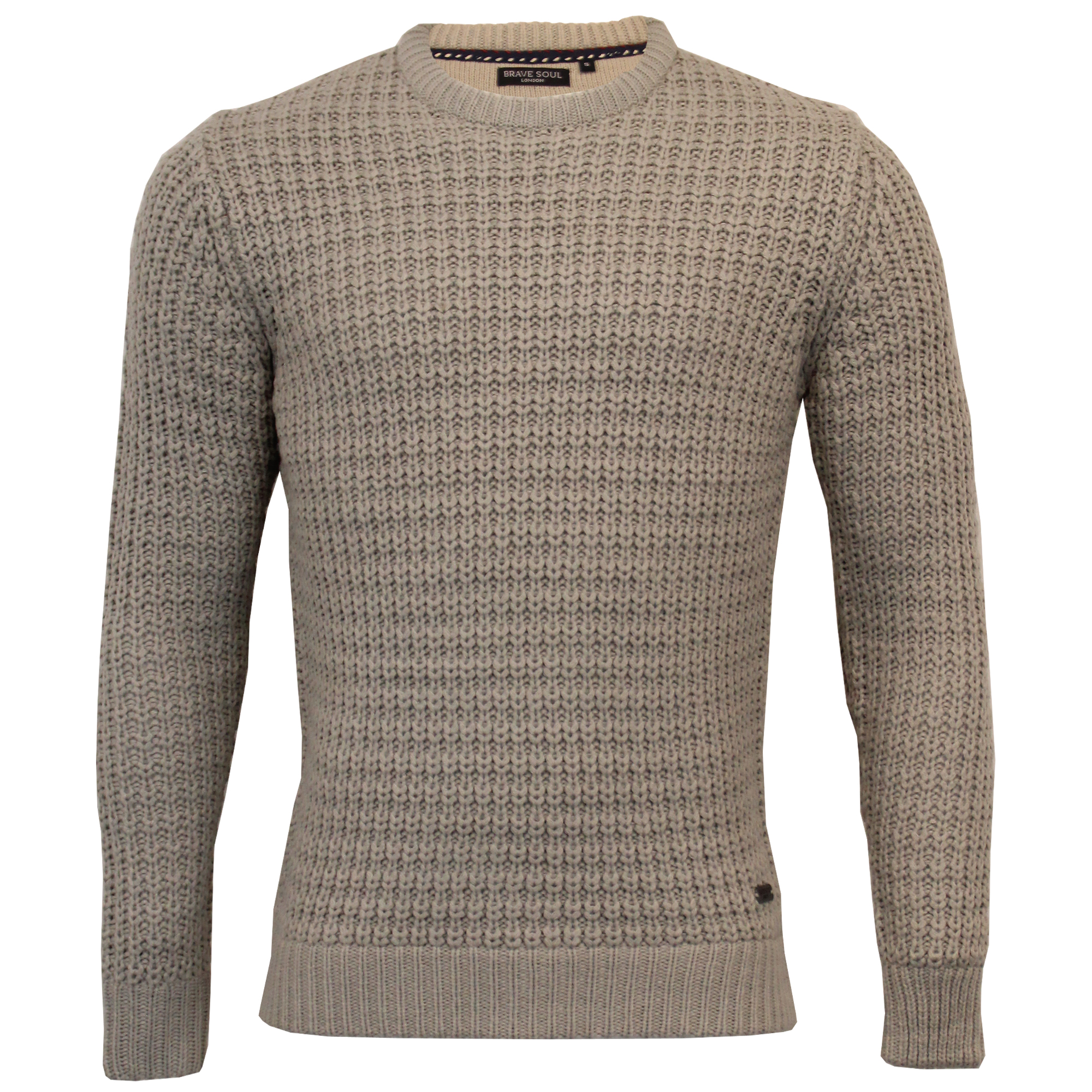 Mens-Cable-Knitted-Jumper-Brave-Soul-DIRAC-Crew-Neck-Pullover-Top-Winter-Fashion thumbnail 2