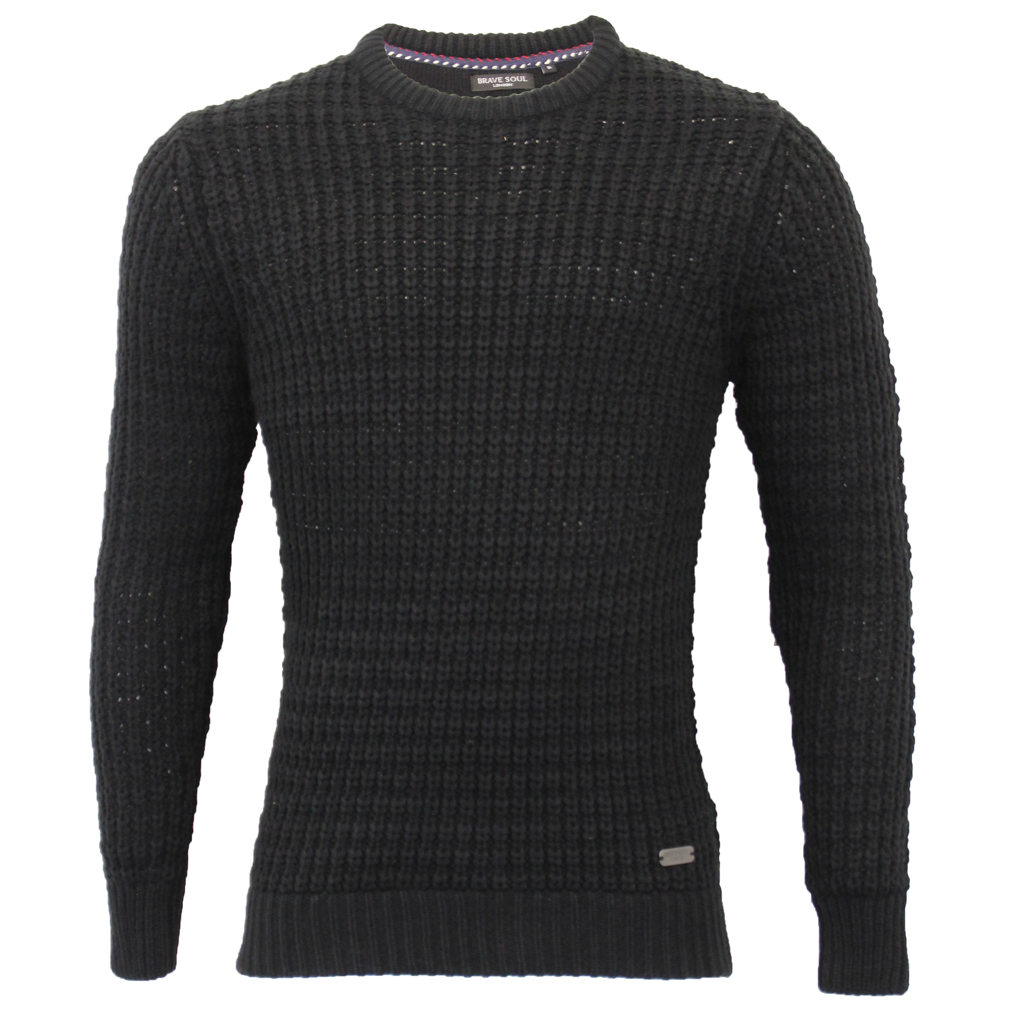 Mens-Cable-Knitted-Jumper-Brave-Soul-DIRAC-Crew-Neck-Pullover-Top-Winter-Fashion thumbnail 5