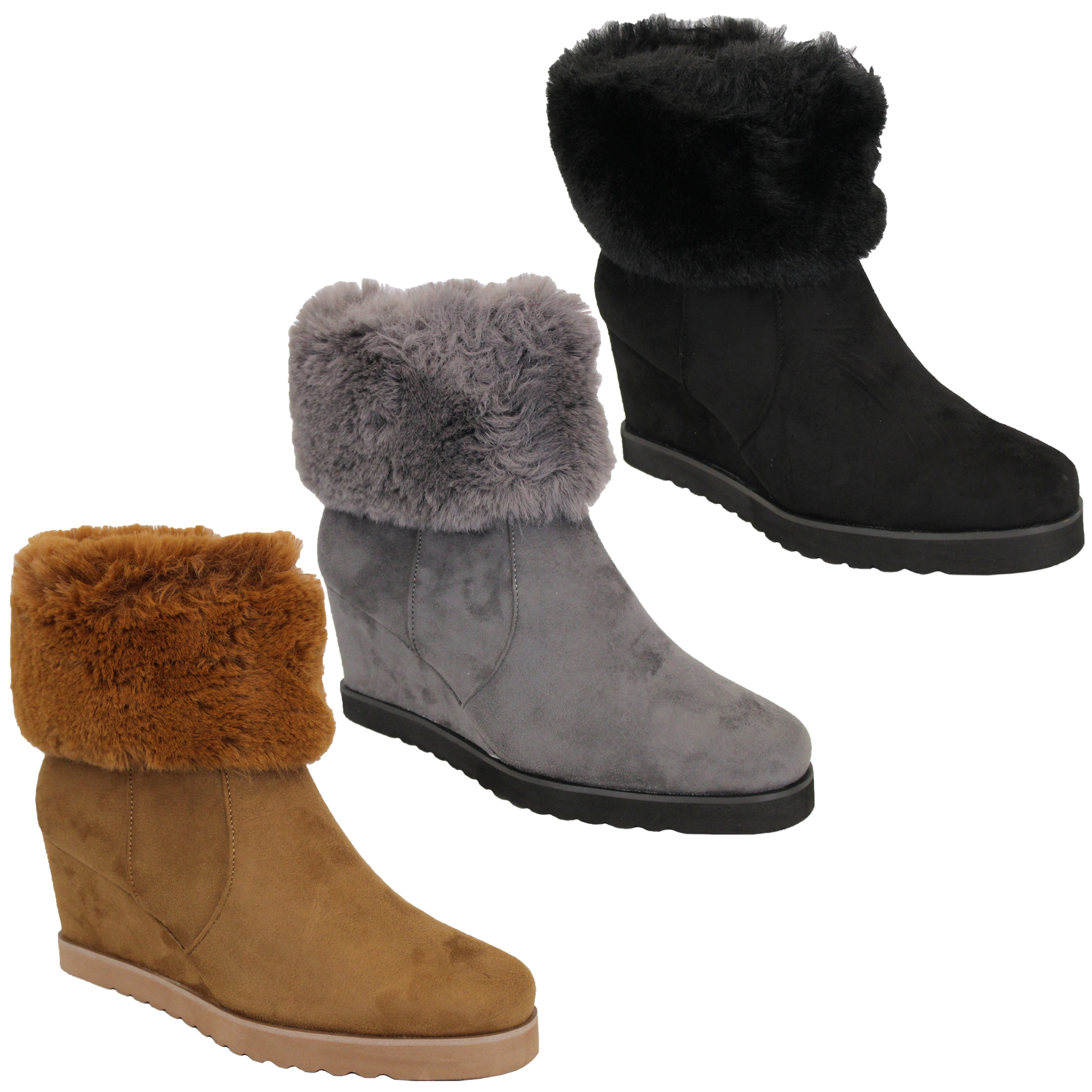 ba0f9cf3abc Ladies Wedge Heel Chelsea Ankle Boots Womens Suede Look Faux Fur ...