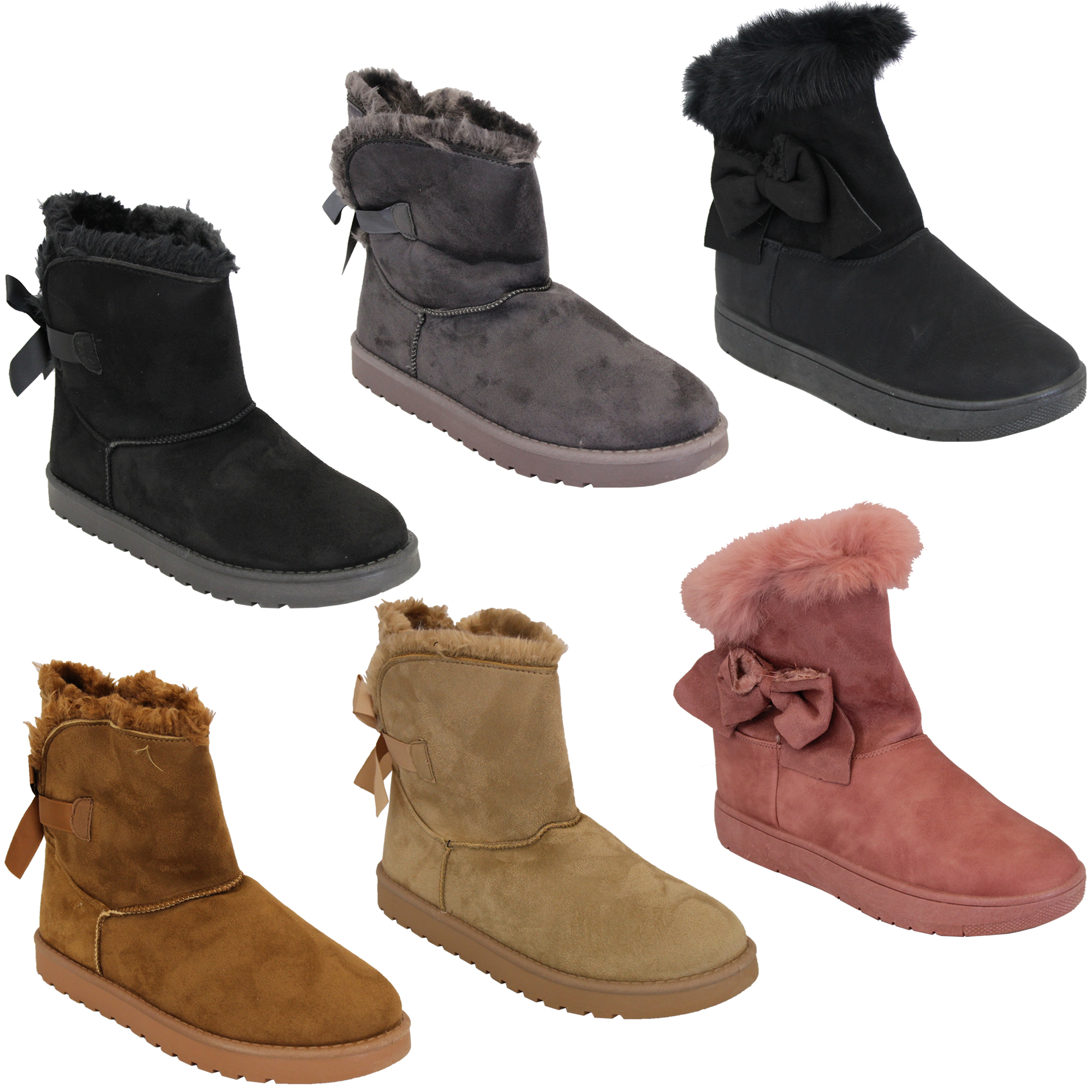 Ladies Snow Ankle Boots Womens Suede