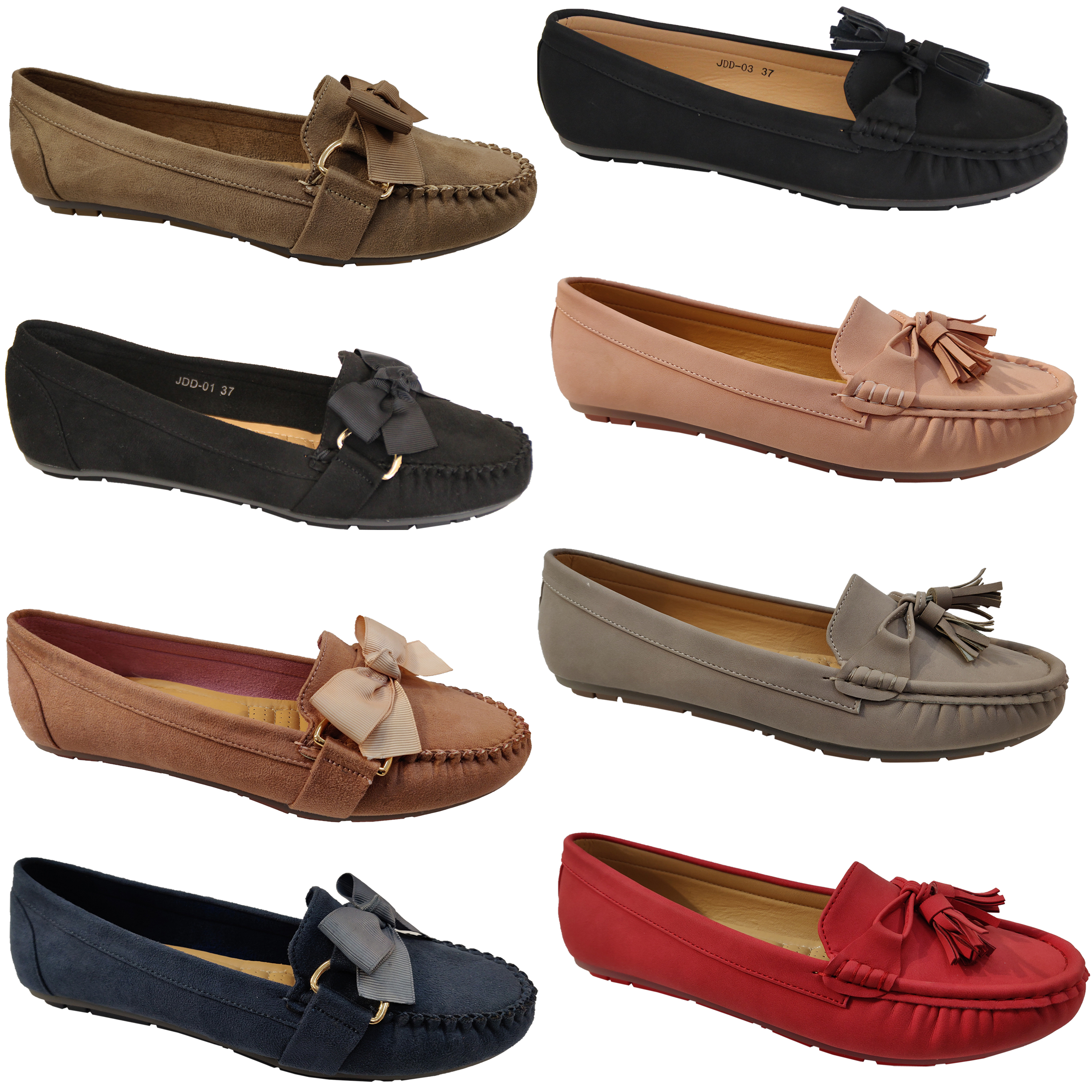 Ladies-Slip-On-Ballerina-Womens-Suede-Look-Pumps-Flat-Bow-Tassels-Shoes-Fashion thumbnail 4