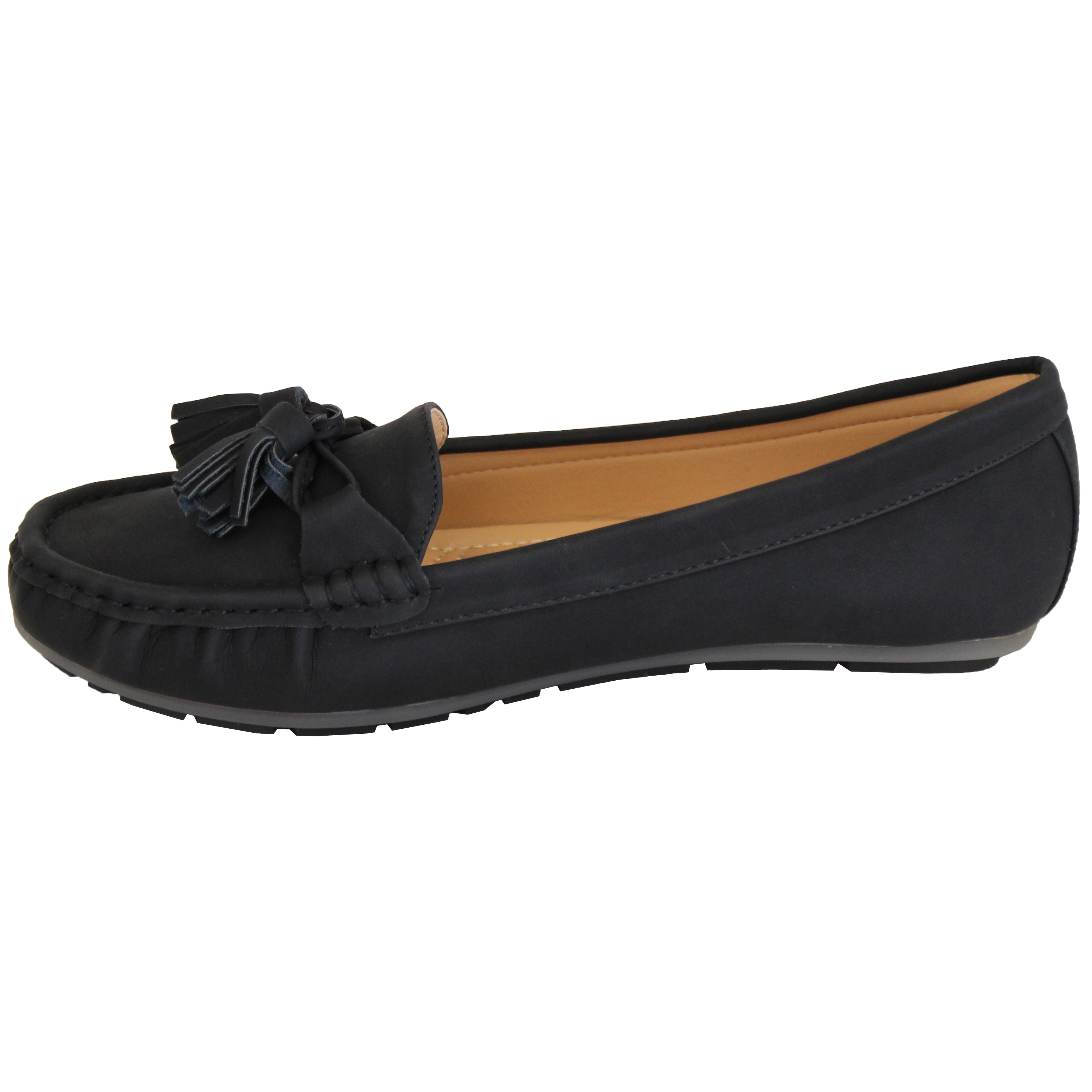 Ladies-Slip-On-Ballerina-Womens-Suede-Look-Pumps-Flat-Bow-Tassels-Shoes-Fashion thumbnail 3