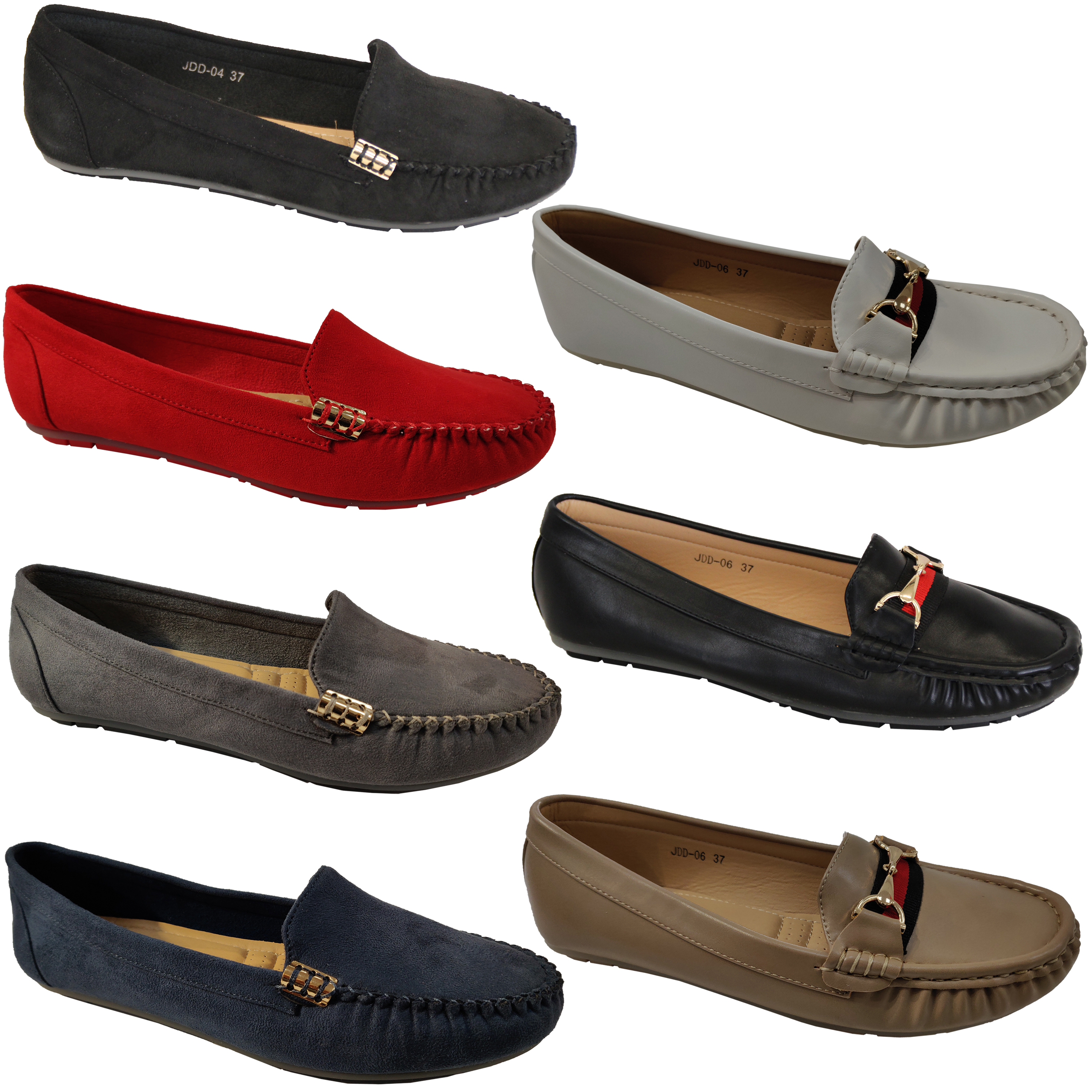 Ladies-Moccasins-Slip-On-Shoes-Ballerina-Womens-Suede-Look-Loafers-Flat-Work-New thumbnail 4
