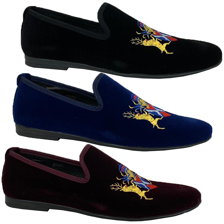 Mens-Italian-Velvet-Logo-Embroidery-Loafers-Shoes-Moccasin-Slip-On-Designer-New thumbnail 6