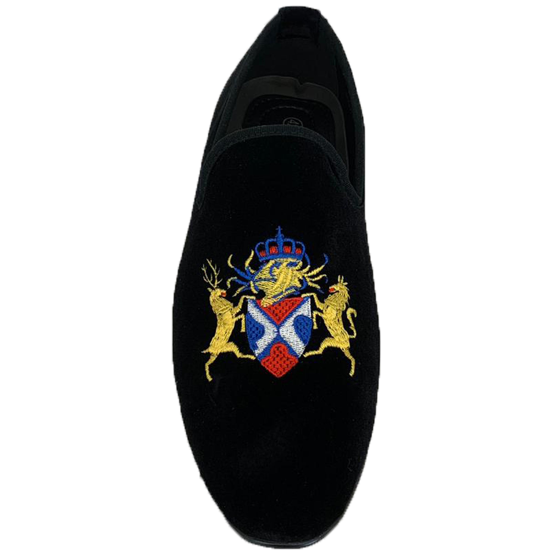 Mens-Italian-Velvet-Logo-Embroidery-Loafers-Shoes-Moccasin-Slip-On-Designer-New thumbnail 3