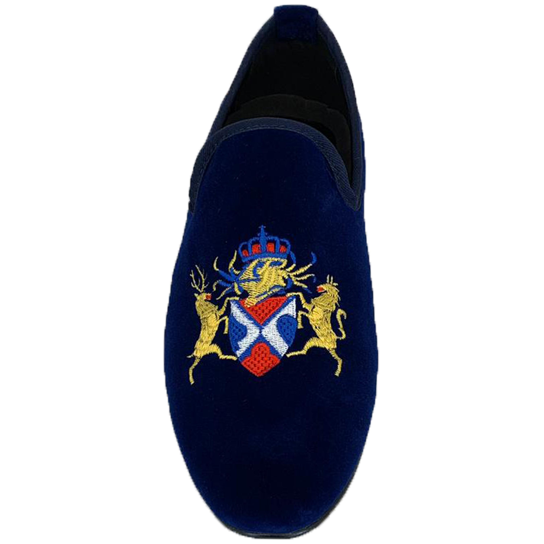 Mens-Italian-Velvet-Logo-Embroidery-Loafers-Shoes-Moccasin-Slip-On-Designer-New thumbnail 8