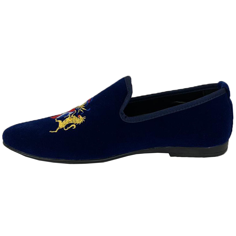 Mens-Italian-Velvet-Logo-Embroidery-Loafers-Shoes-Moccasin-Slip-On-Designer-New thumbnail 9