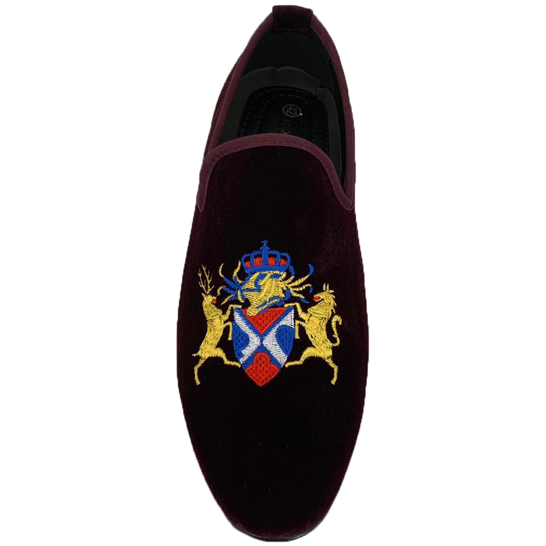 Mens-Italian-Velvet-Logo-Embroidery-Loafers-Shoes-Moccasin-Slip-On-Designer-New thumbnail 13