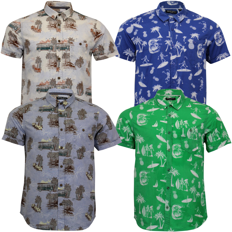 c7860df669540b Uomo Hawaii Camicia di Cotone Brave Soul Ananas Albero Palma Stampa ...