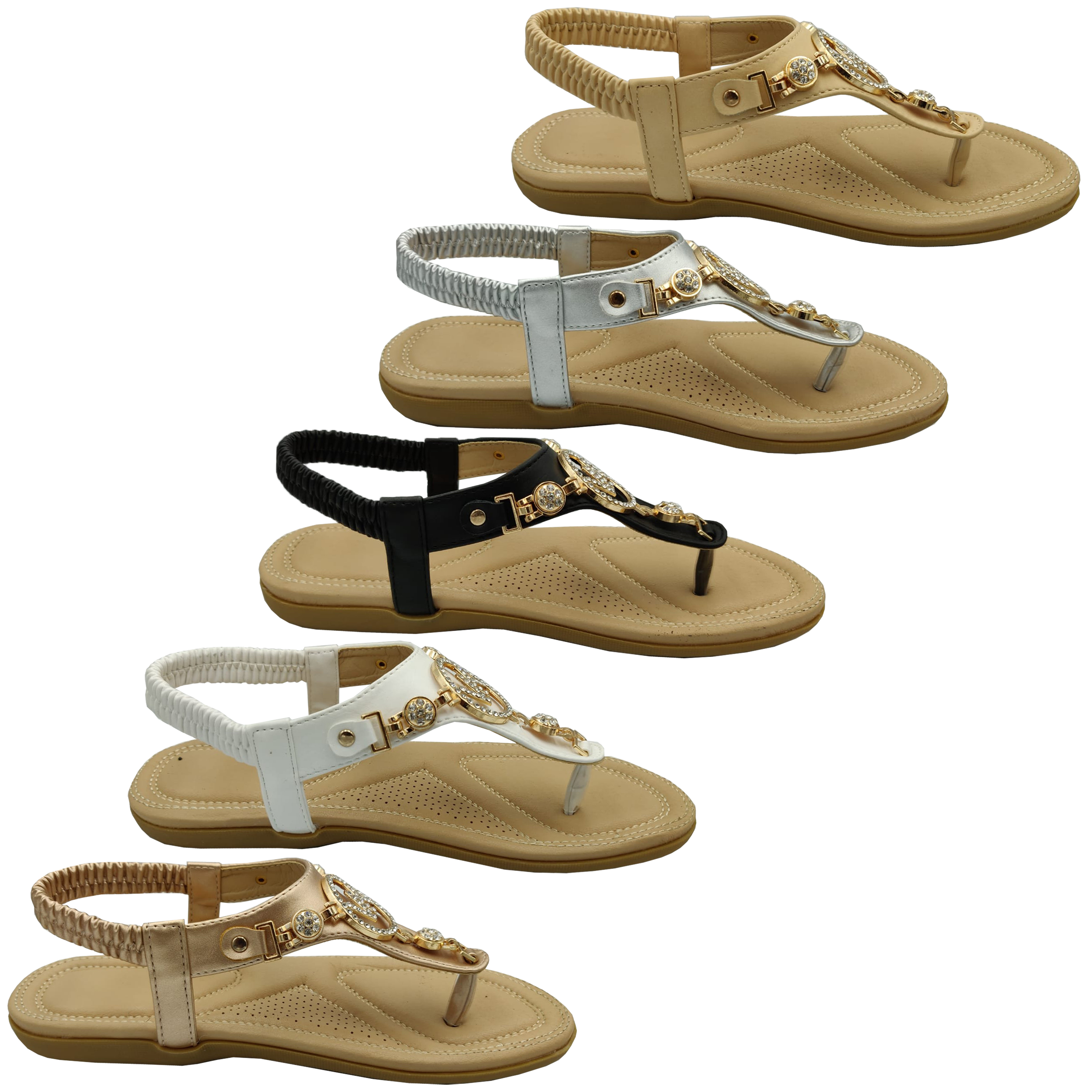 Ladies-Flat-Sandals-Womens-Diamante-Sling-Back-Toe-Post-Shoes-Summer-Fashion-New thumbnail 5