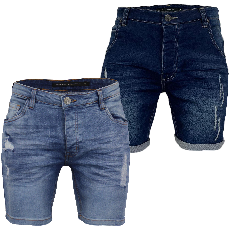 Brave Soul Eastbourne ripped Men/'s Black Wash Slim Fit Knee Rip Denim Jeans