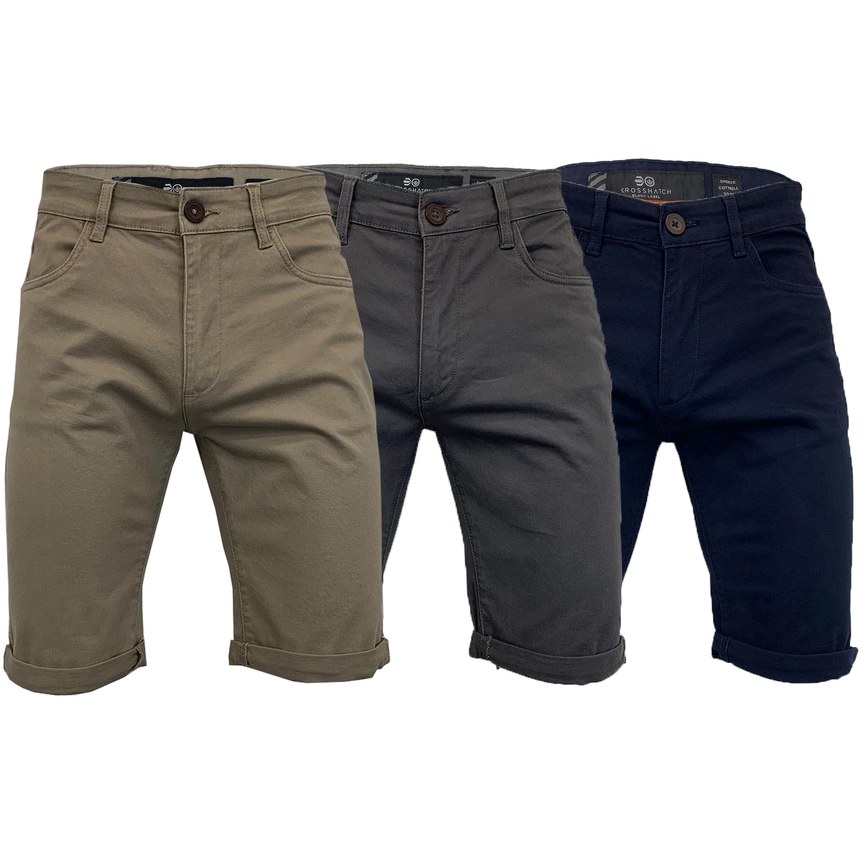 a377809ff69b Mens Chino Shorts Crosshatch Knee Length Roll Up COTTRELL Casual ...
