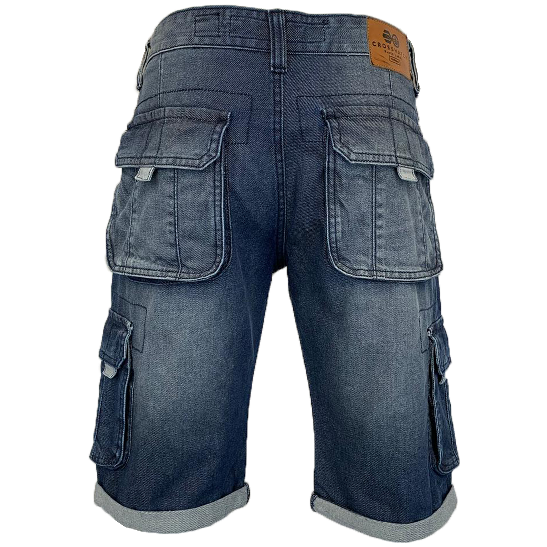 Mens-Crosshatch-Denim-Knee-Length-Combat-Shorts-Cargo-Casual-Fashion-Summer-New 縮圖 29